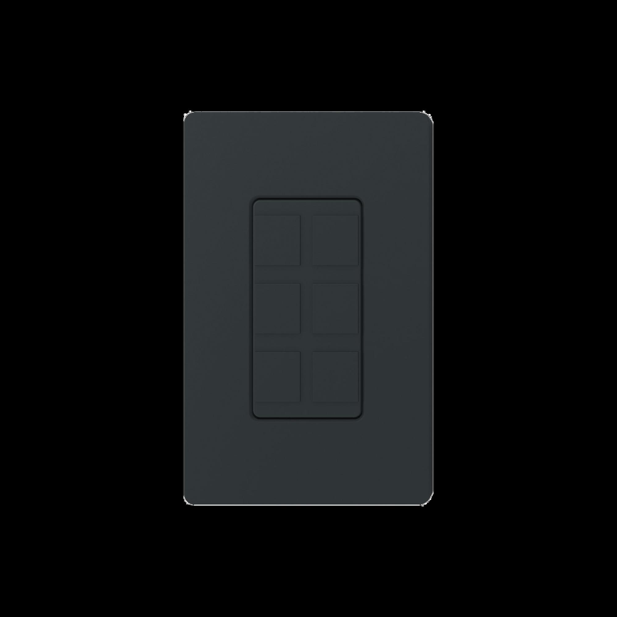 Placa de 6 puertos, color negro night.
