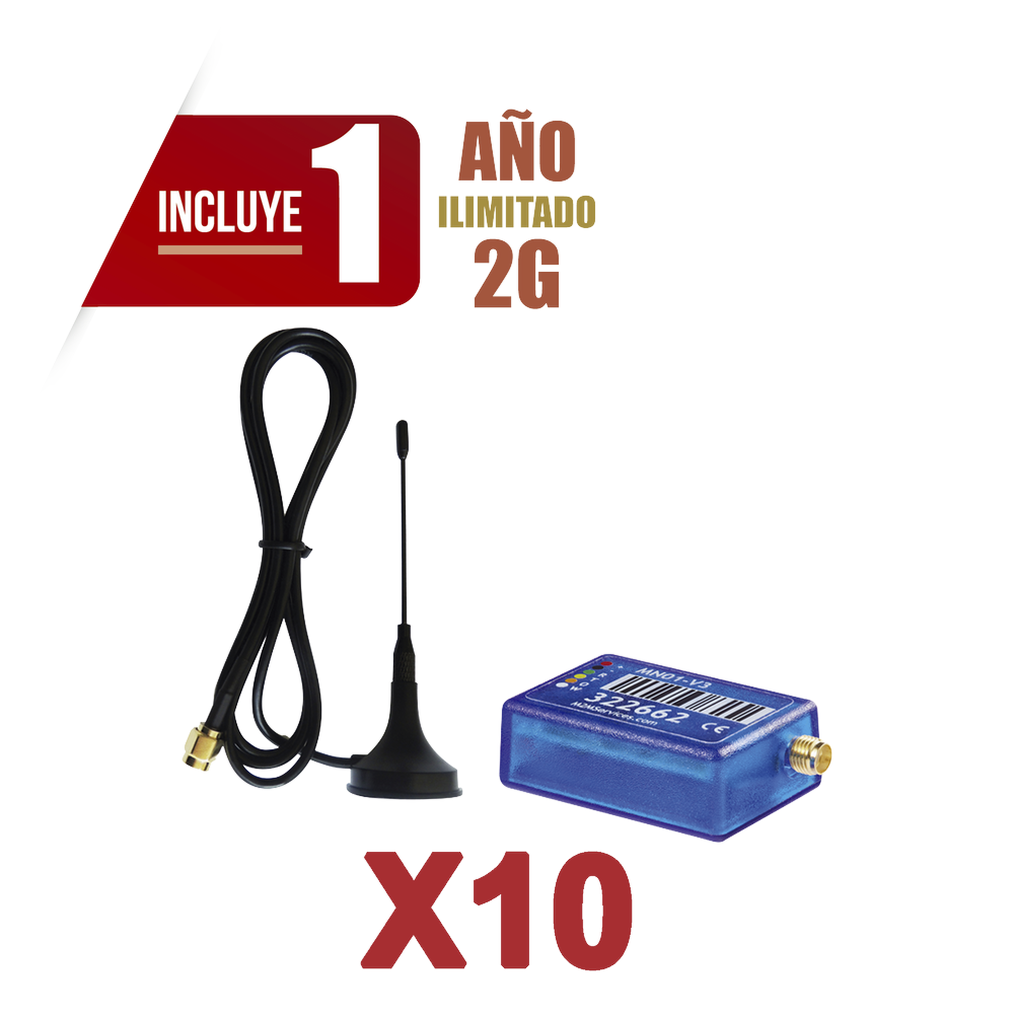 KIt de 10 Comunicadores de Alarma MINI012G con Antena 2G / Incluyen 1 Año de Cobertura / Aplicación Gratuita / Cero Configuración / Compatible Honeywell/DSC/CROW/PIMA