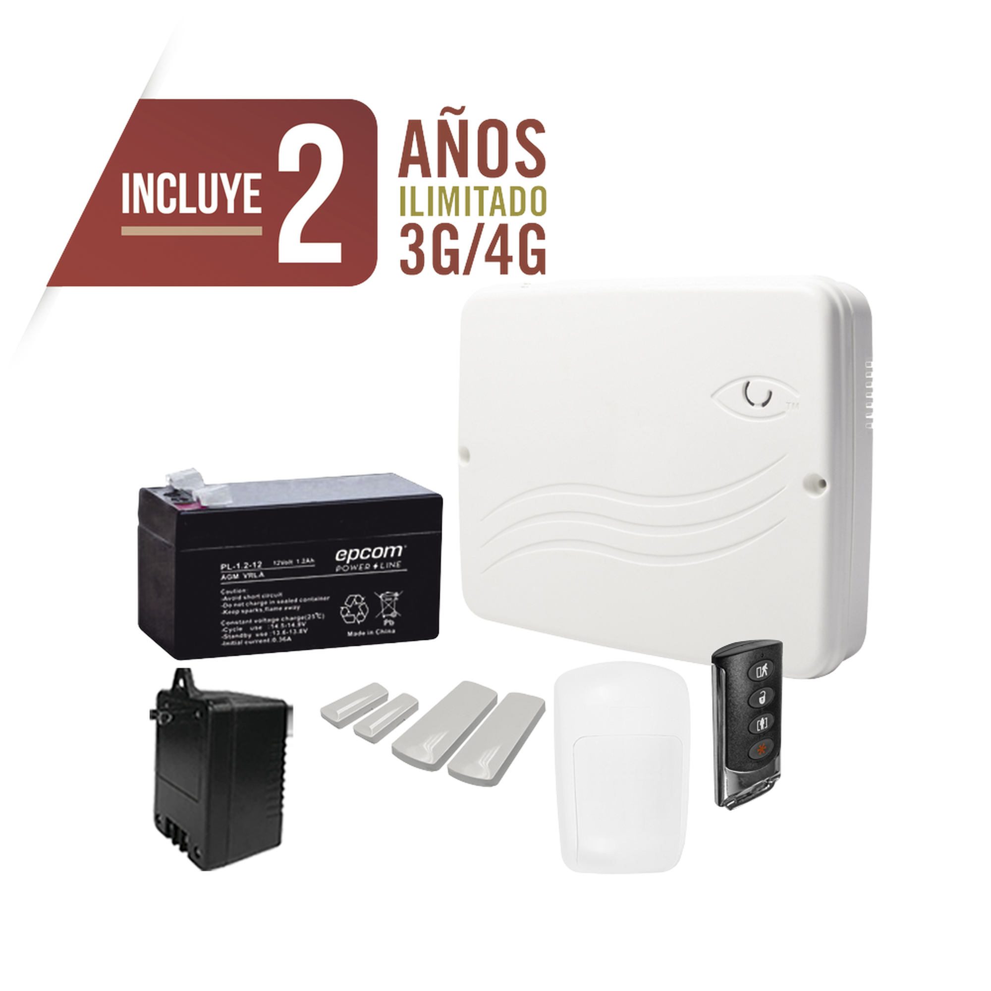 kit Profesional de Alarma Cloud Híbrido/Comunicador 4G Lte Integrado/8 Zonas Cableadas, 32 Inalambricas /Programación 100% vía WEB