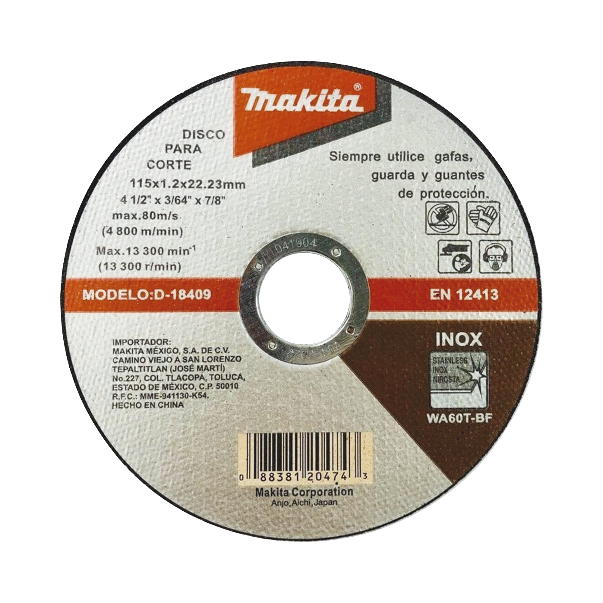 Disco de Corte de 7/8 de acero inoxidable, diámetro de 4-1/2