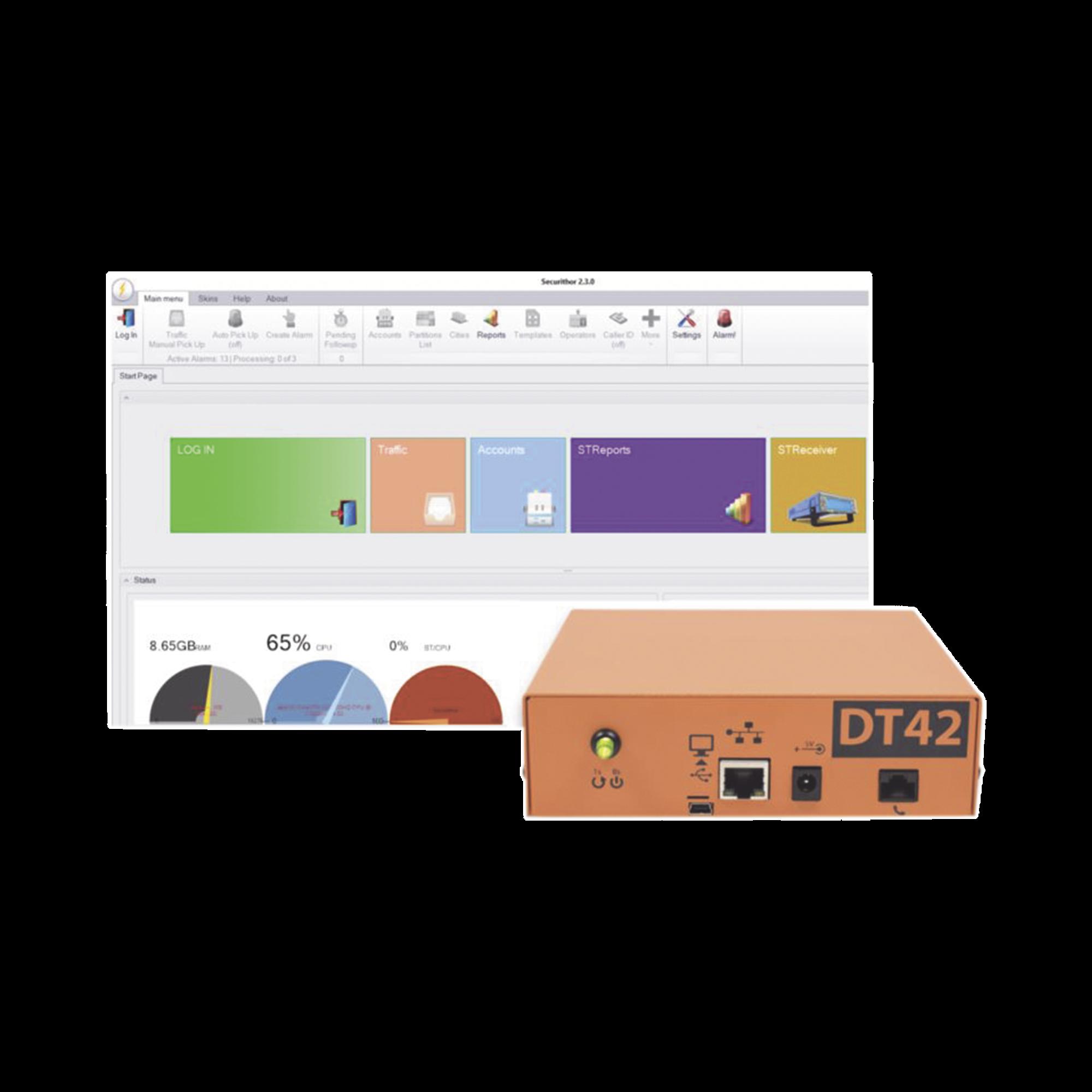 Inicie o renueve su central de monitoreo de alarmas, Kit 1 receptora ExtriumDT42V2 y Software de monitoreo.