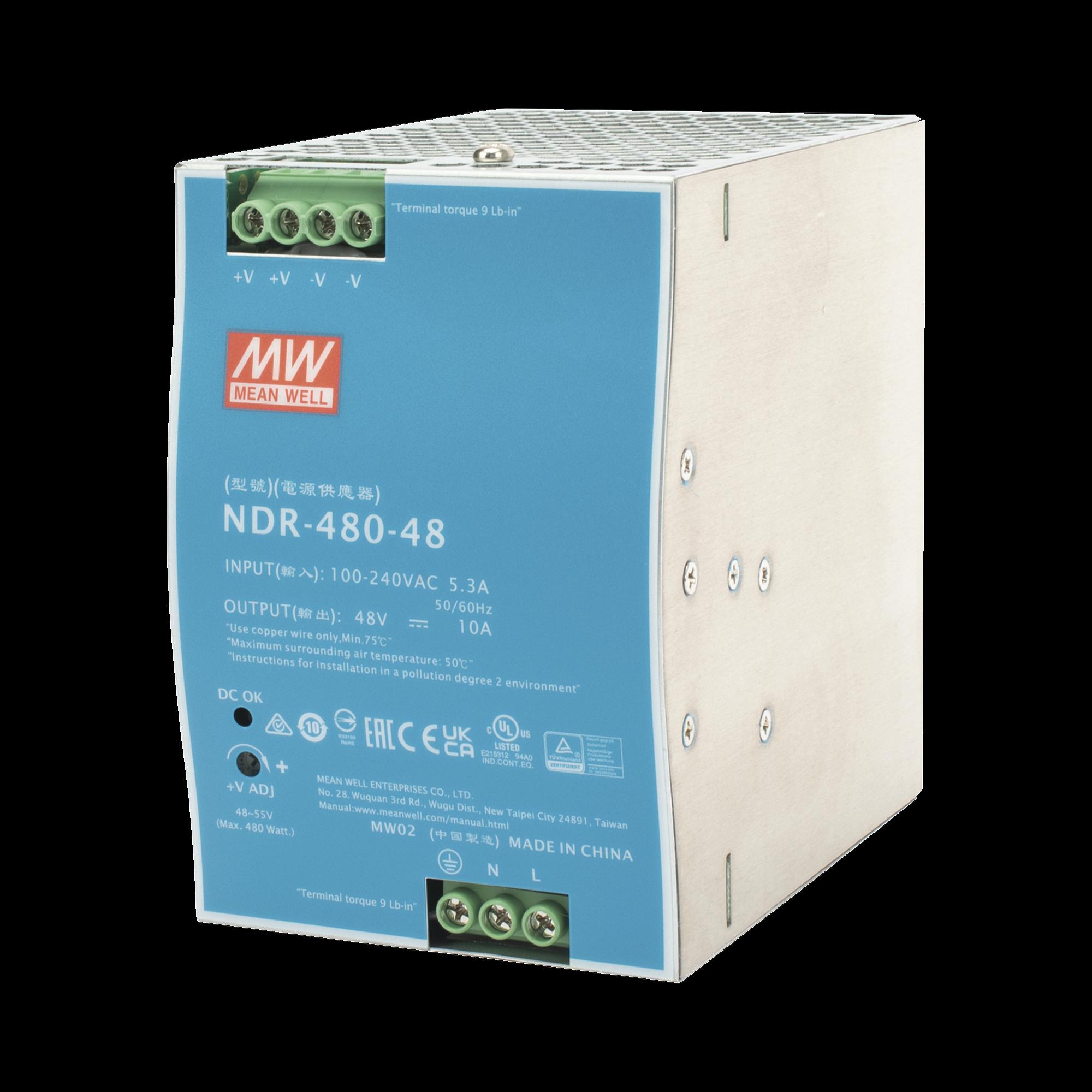 Fuente de Poder Industrial de 480W, salida 48 VCD, para montaje en riel Din