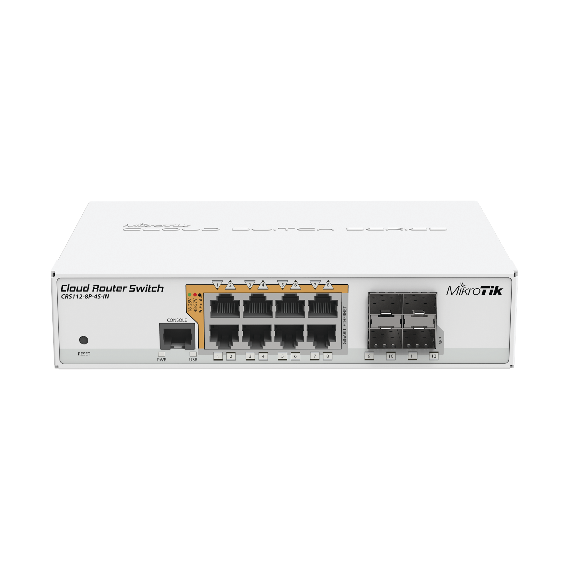 Cloud Router Switch Administrable L3, 8 puertos 10/100/1000 Mbps c/PoE Pasivo ó 802.3af/at, 4 Puertos SFP