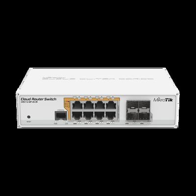 Cloud Router Switch Administrable L3, 8 puertos 10/100/1000 Mbps c/PoE Pasivo ó 802.3af/at, 4 Puertos SFP