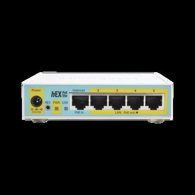 (hEX PoE LITE) RouterBoard, 5 Puertos Fast Ethernet, 4 con PoE Pasivo, 1 Puerto USB