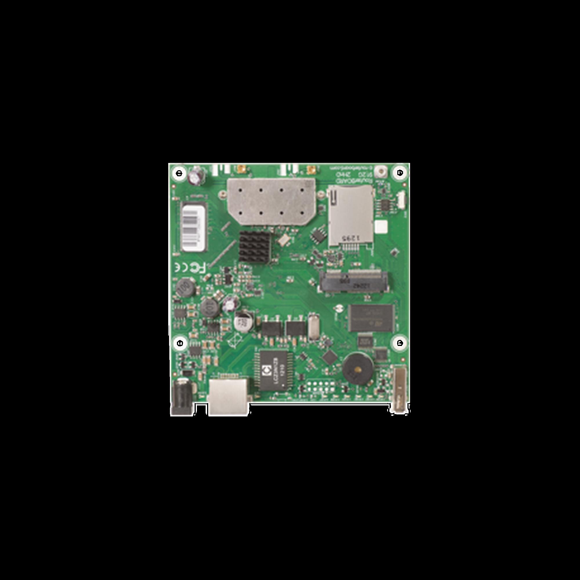 Tarjeta Inalámbrica y router en 2.4 GHz 802.11 b/g/n,  64 MB de RAM, 1 Puerto Gigabit Ethernet, Nivel de Licencia 4