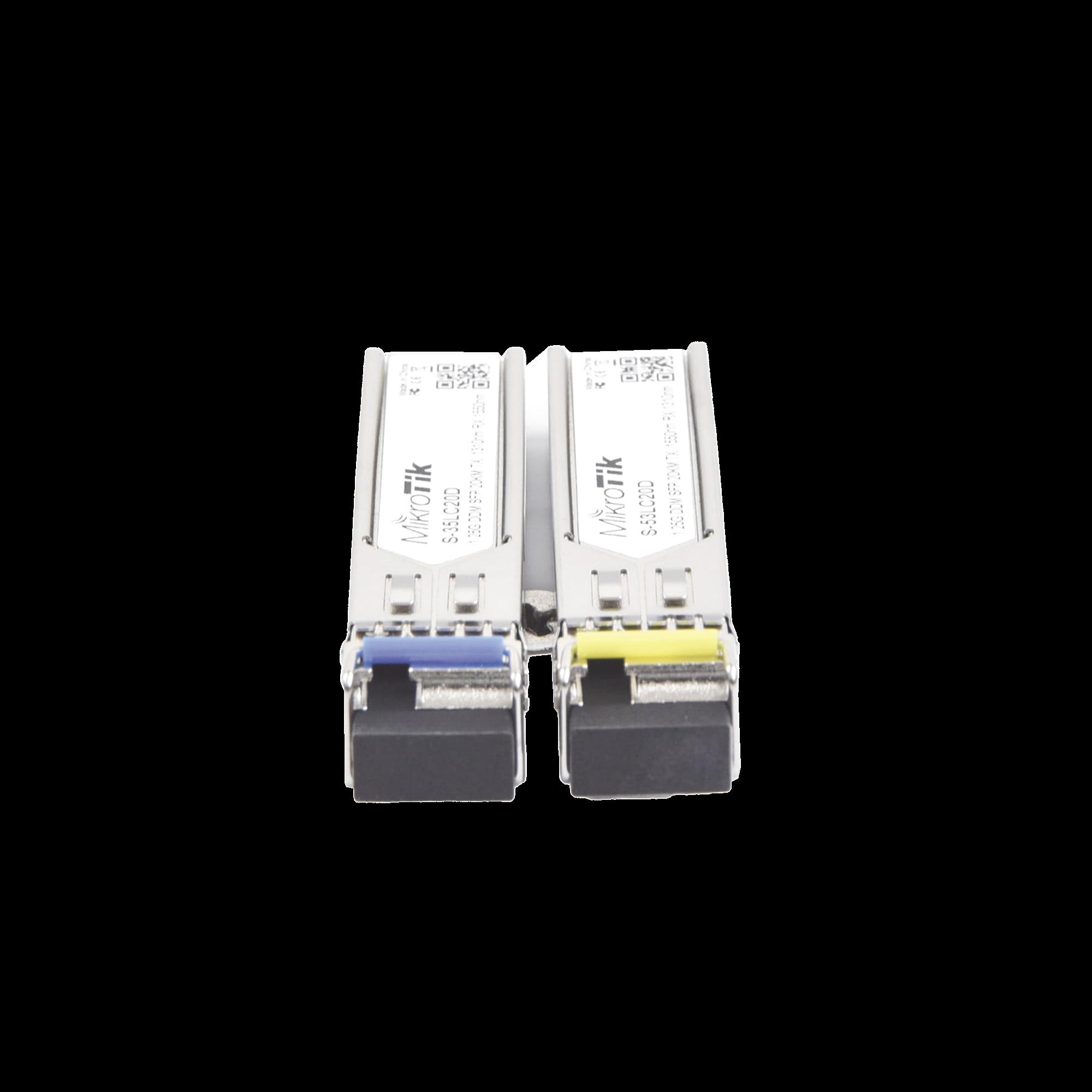 Transceptores MiniGbic SFP 1.25G LC WDM para fibra Mono Modo 20 Kms