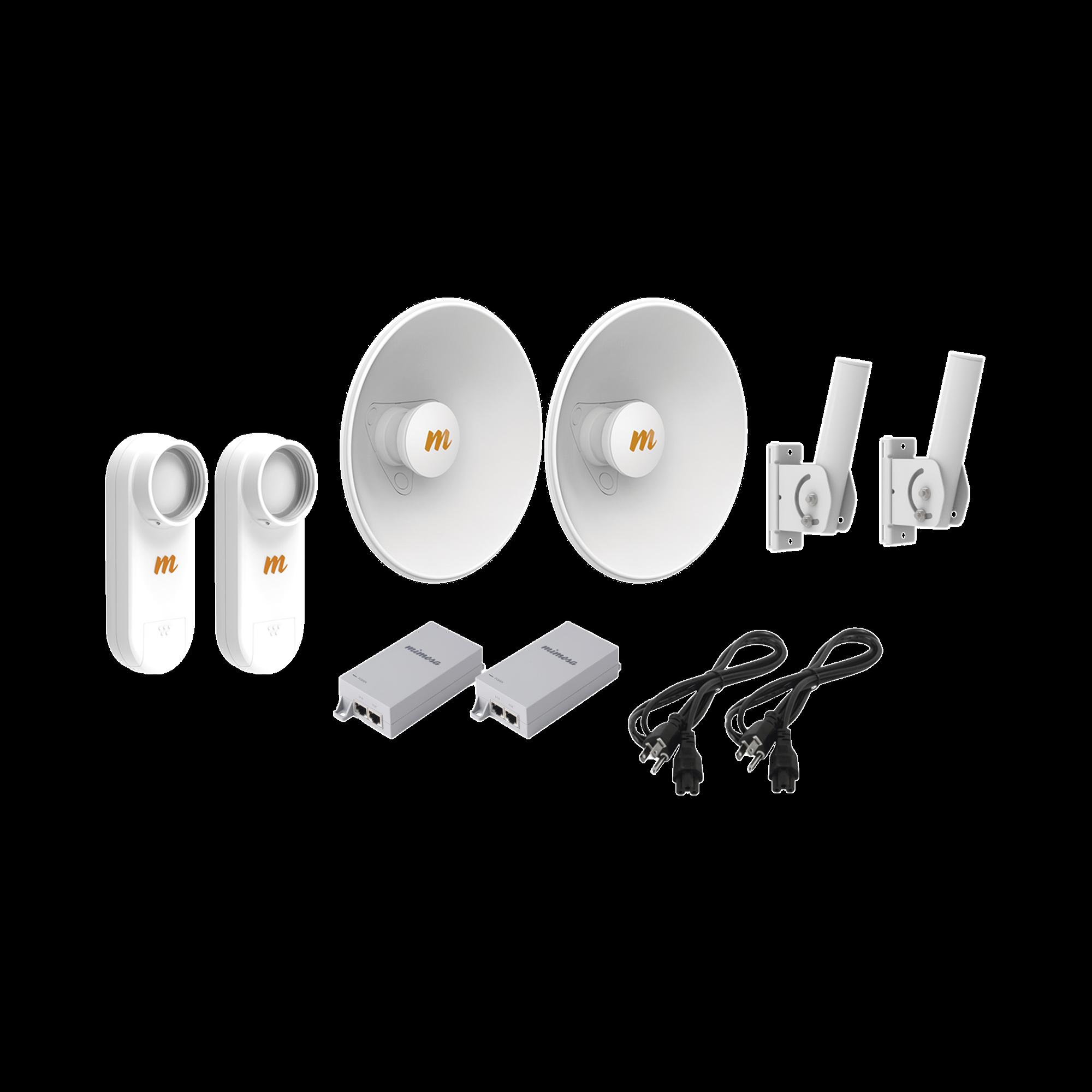 Kit de 2 radios C5X con  kit N5-X20-2PACK (20 dBi), rango de frecuencia extendida (4.9 a 6.4 GHz),  incluye inyector POE, distancia de hasta 8 km