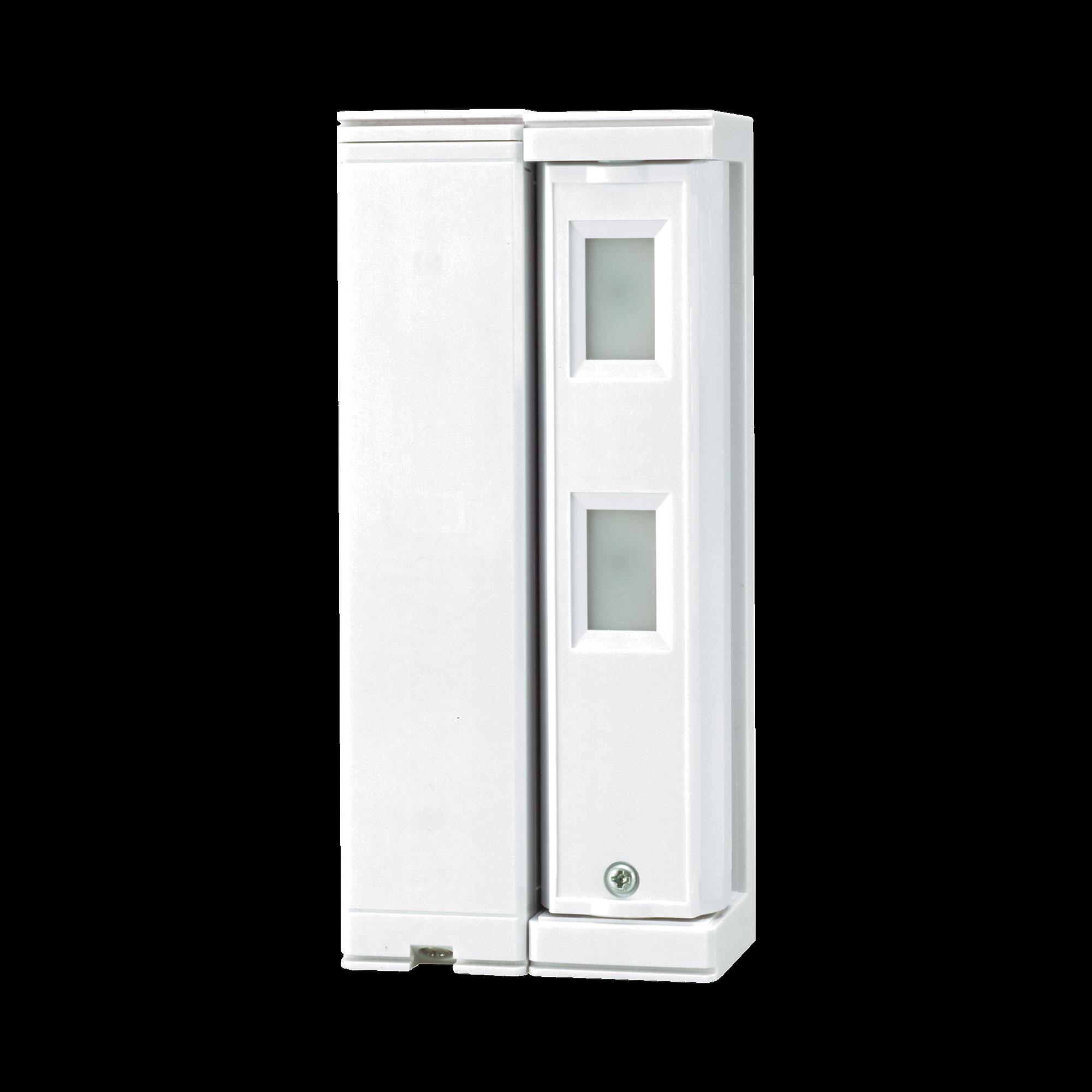 Sensor de Movimiento / Tipo Cortina / Ajuste de detección 2m o 5m / 100% Exterior / Inalambrico (Alimentación)/Compatible con cualquier panel de alarma / Proteja fachadas, puertas, ventanas, balcones y mas!