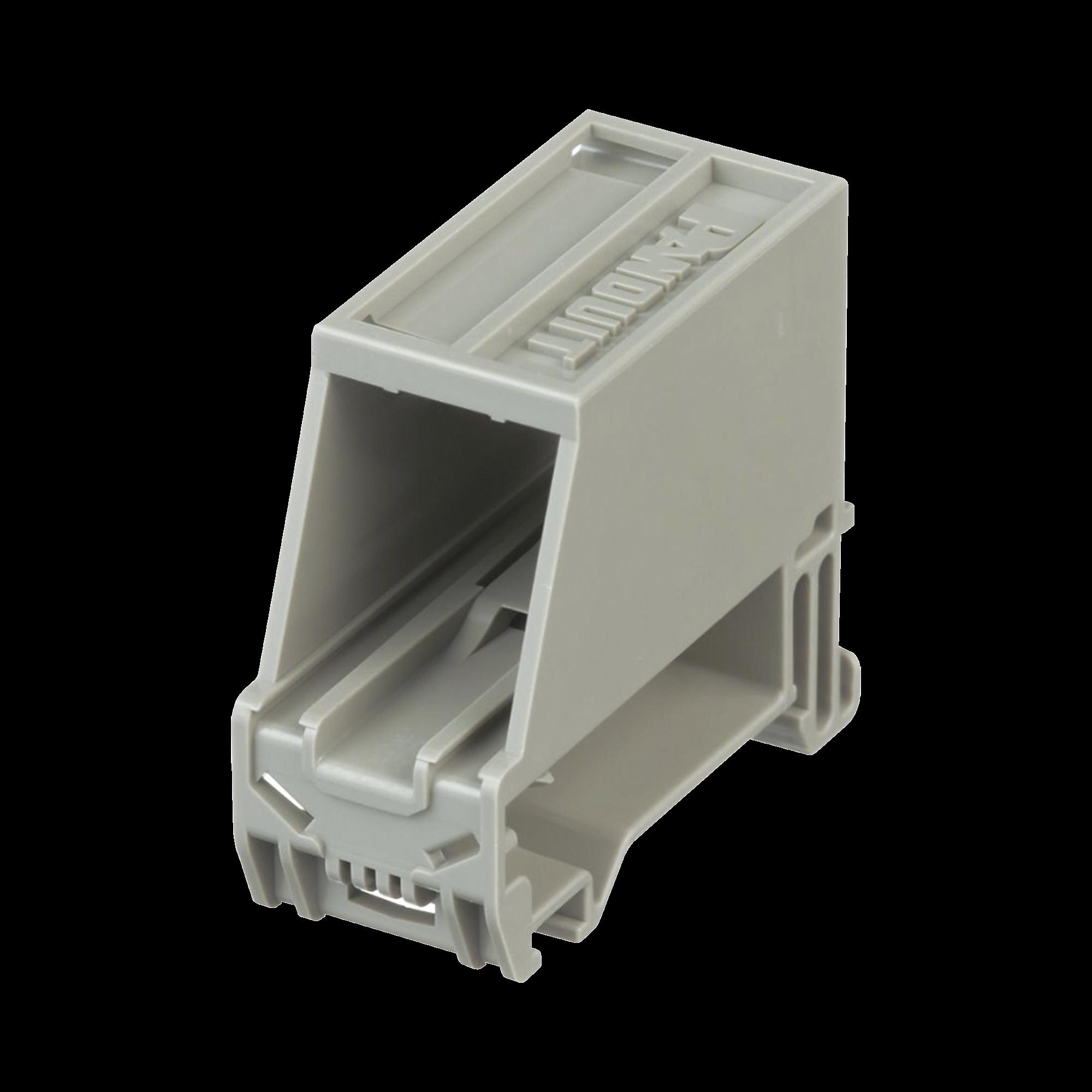 Adaptador de 1 Puerto, Para Conectores Tipo Mini-Com, Montaje en Riel Din Estándar de 35mm, Color Gris Internacional