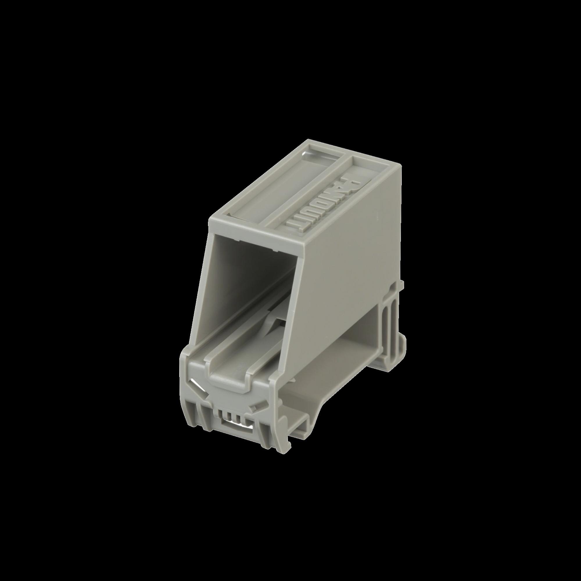 Adaptador de 1 Puerto, Para Conectores Tipo Mini-Com, Blindado, Montaje en Riel Din Estándar de 35mm, Color Gris Internacional