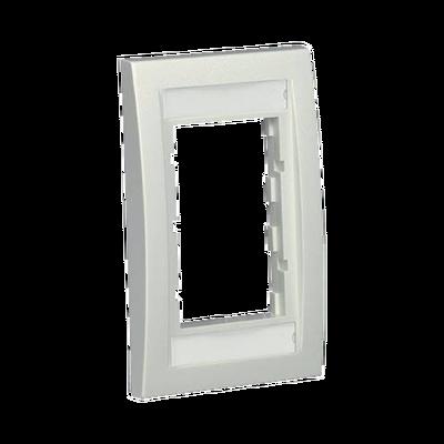 Marco de Placa Frontal Ejecutiva, Para dos Insertos de 1/2 o tres Insertos de 1/3, Color Blanco Mate