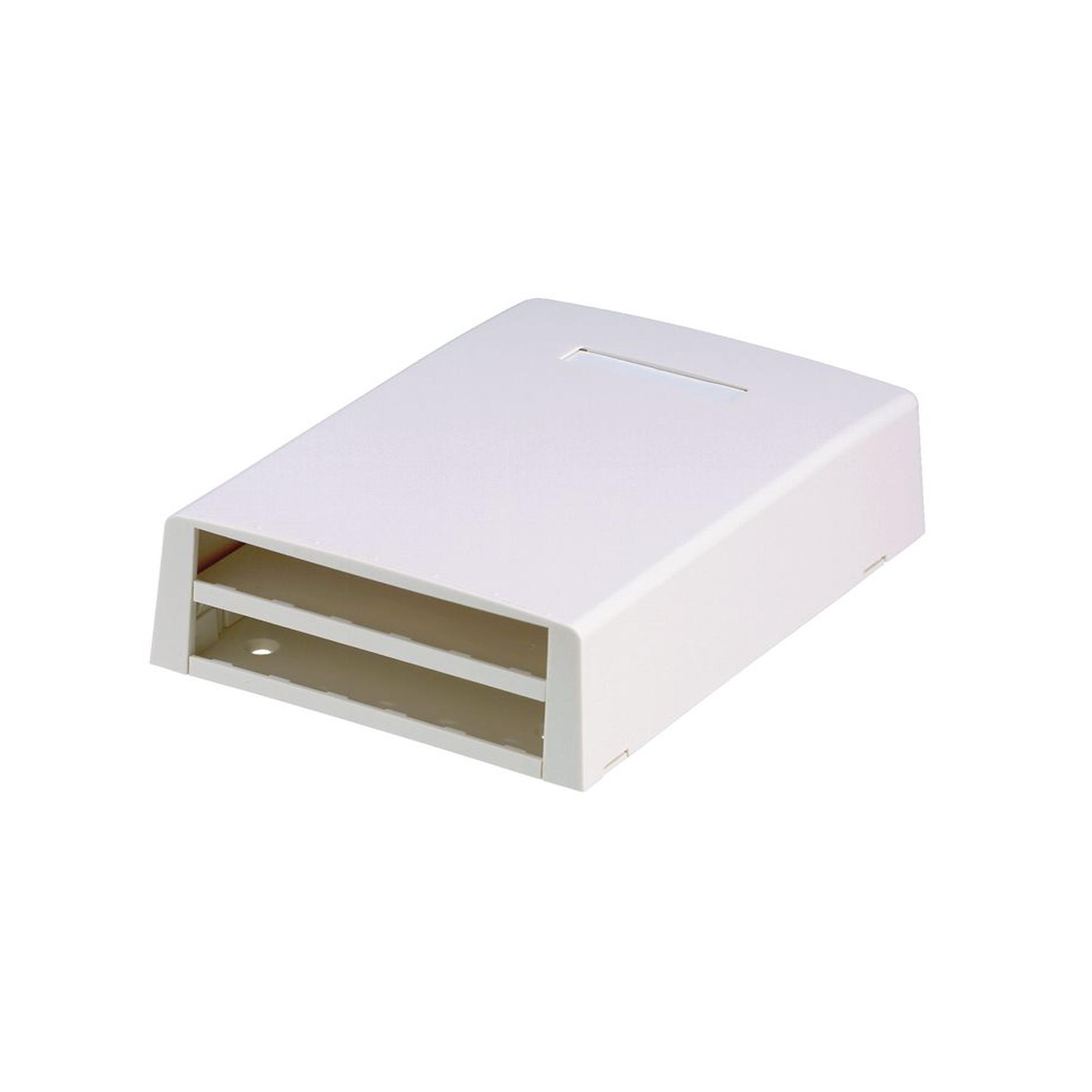 Caja de Montaje en Superficie, Con Accesorio para Resguardo de Fibra optica, Para 12 Modulos Mini-Com, Color Blanco