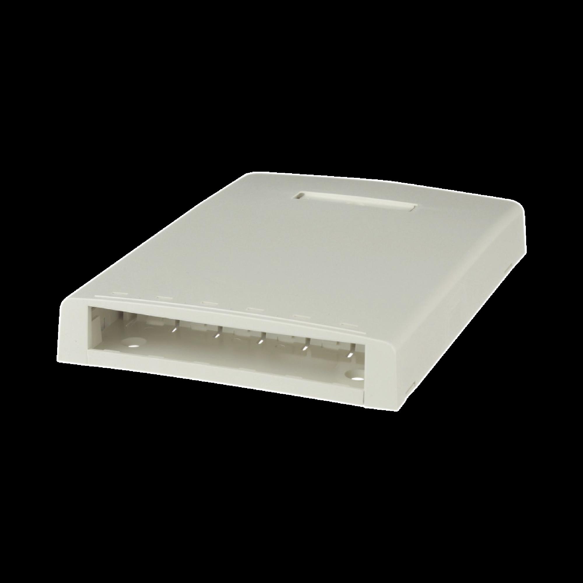 Caja de Montaje en Superficie, Con Accesorio para Resguardo de Fibra óptica, Para 6 Módulos Mini-Com, Color Blanco Mate