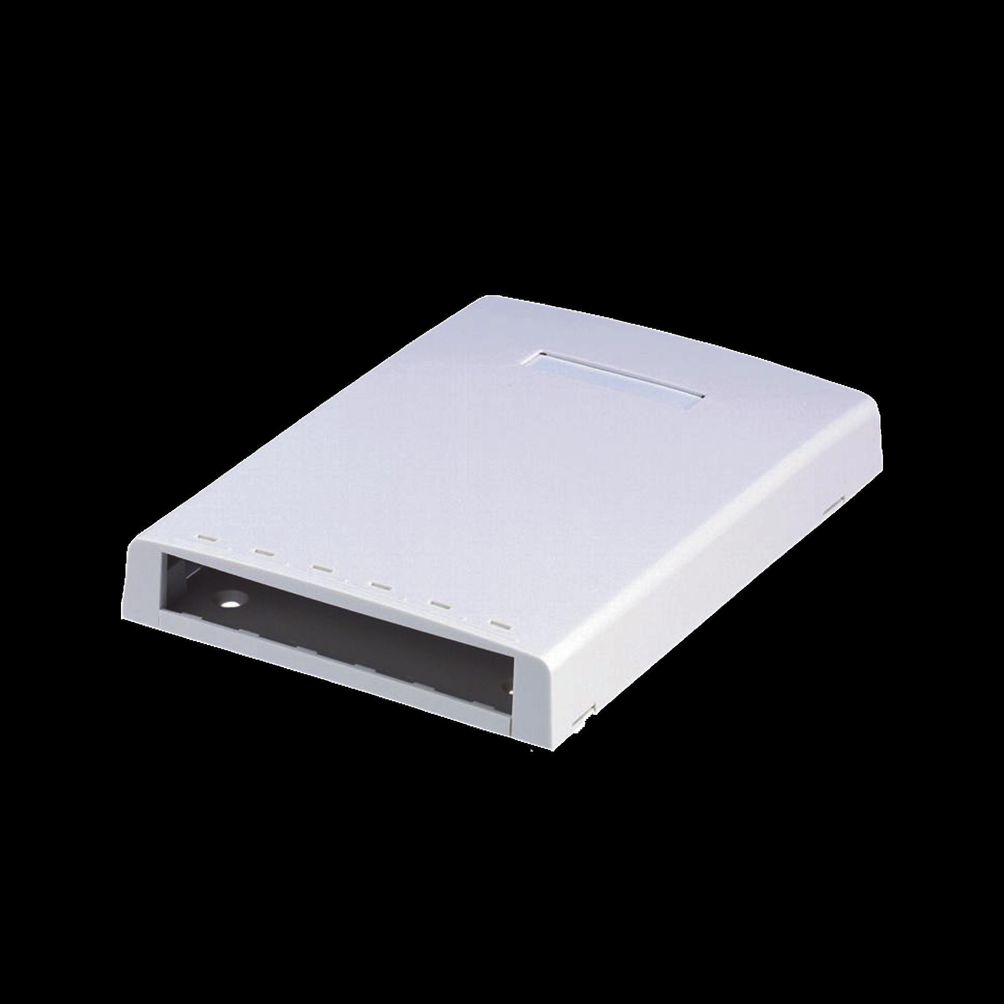 Caja de Montaje en Superficie, Con Accesorio para Resguardo de Fibra óptica, Para 6 Módulos Mini-Com, Color Blanco