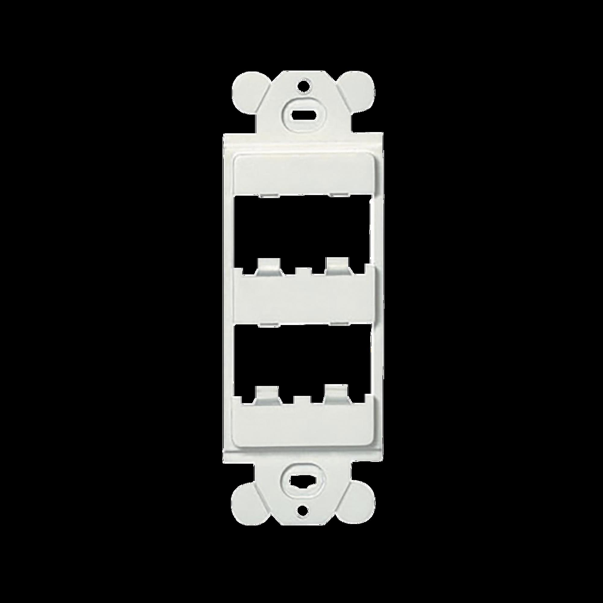 Marco de Modulo Duplex, Para Placas Frontales Estándar GFCI, Acepta 4 Modulos Mini-Com, Color Blanco