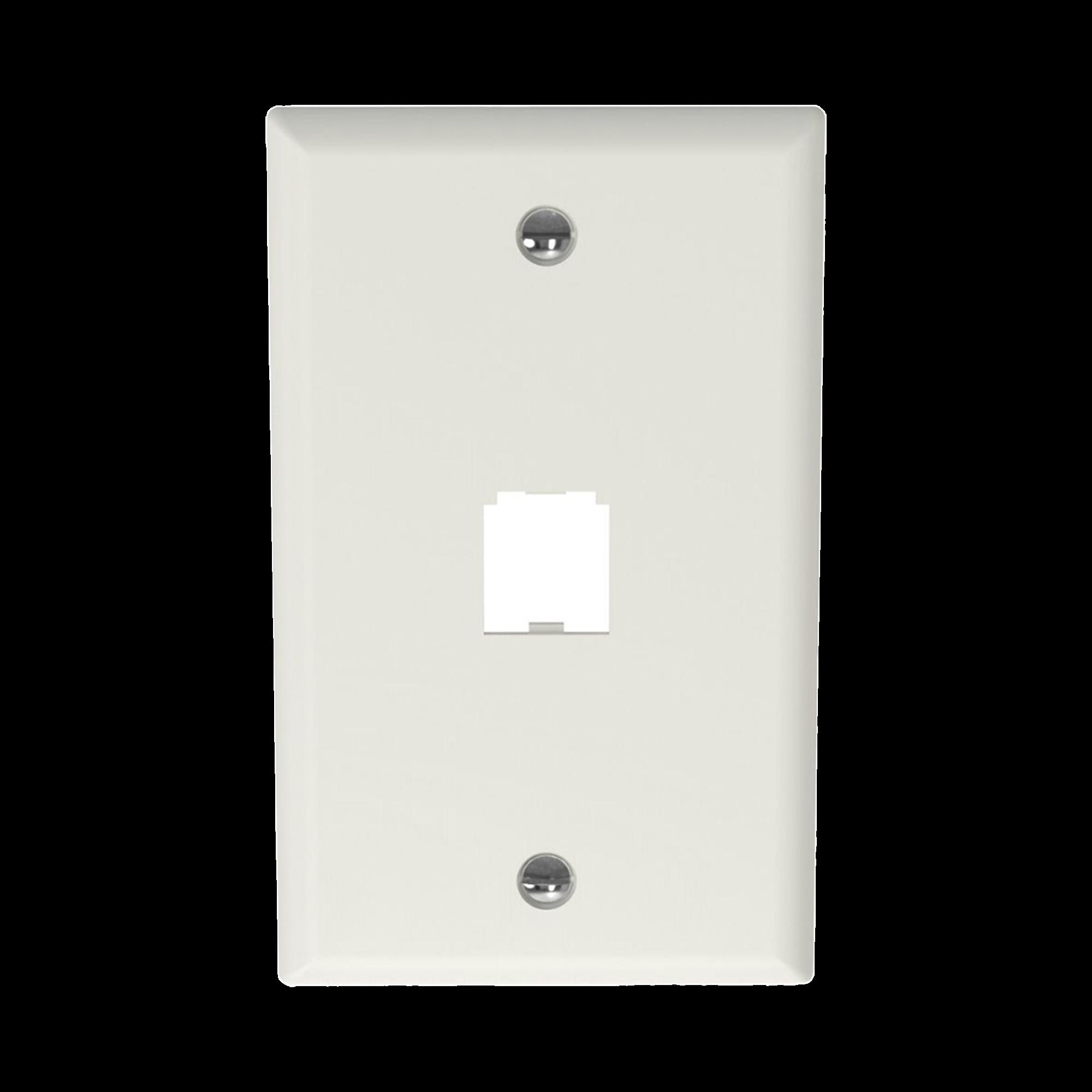 Placa de Pared Vertical Clasica, Salida Para 1 Puerto Mini-Com, Color Blanco Mate
