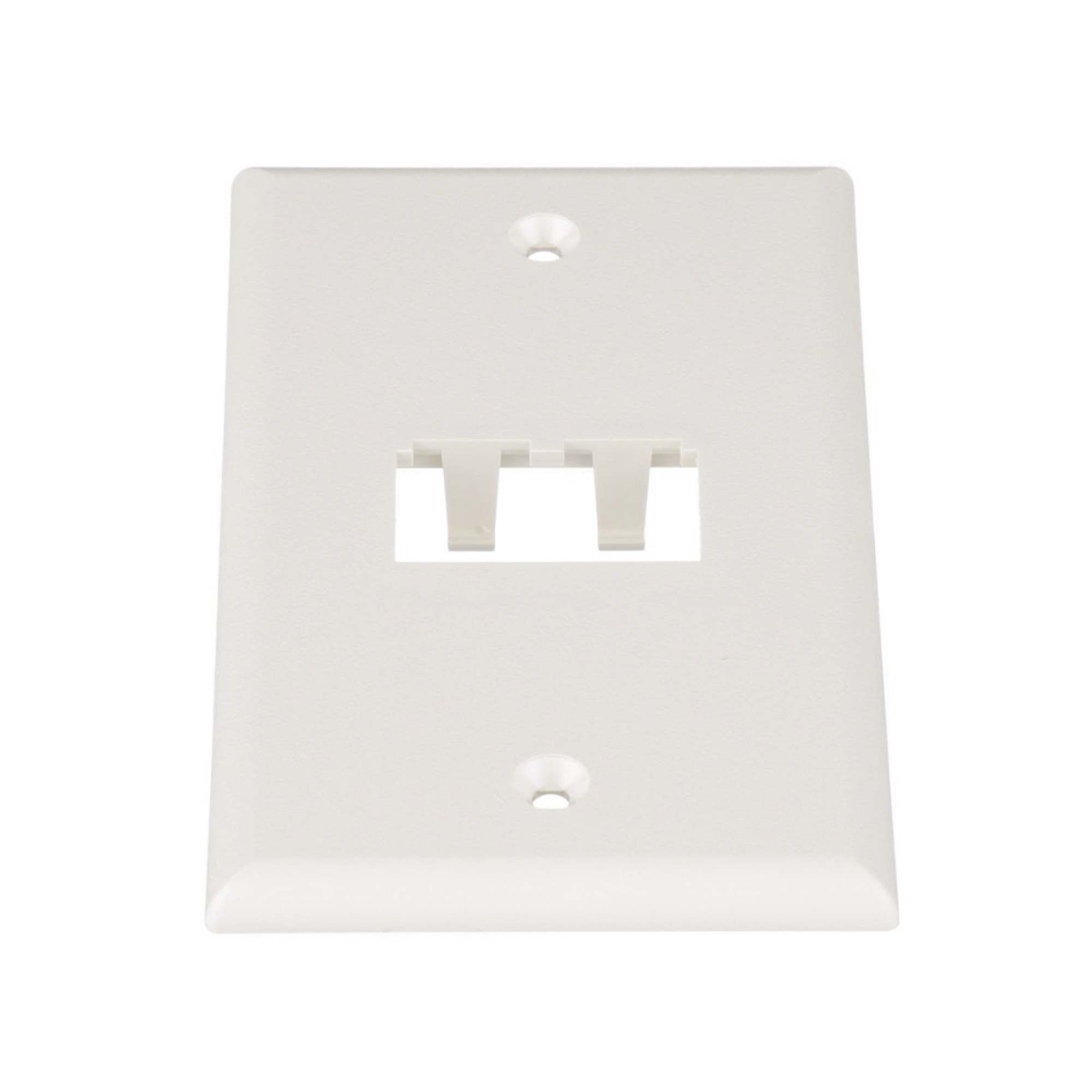 Placa de Pared Vertical Clásica, Salida Para 2 Puertos Mini-Com, Color Blanco Mate