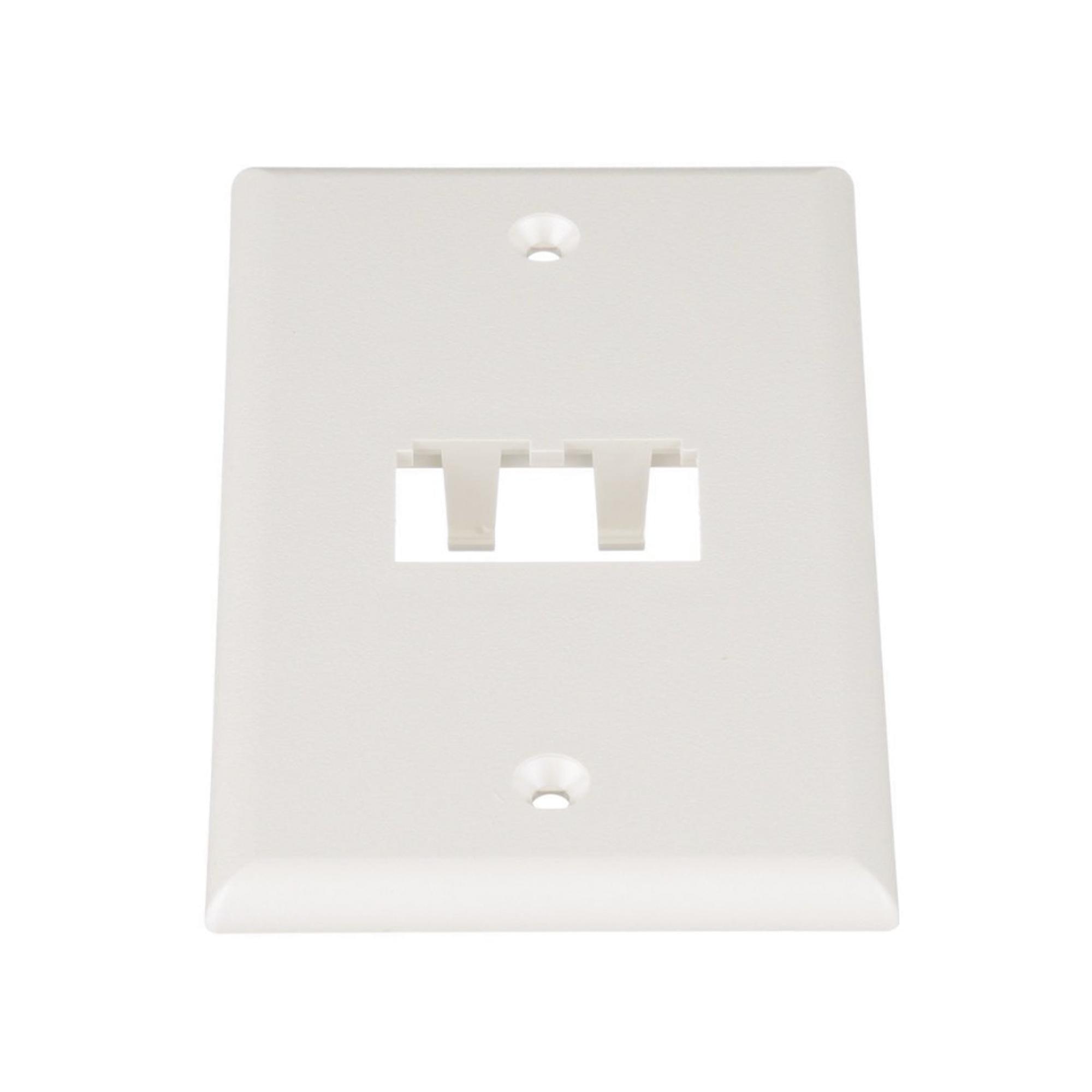 Placa de Pared Vertical Clásica, Salida Para 2 Puertos Mini-Com, Color Blanco Mate