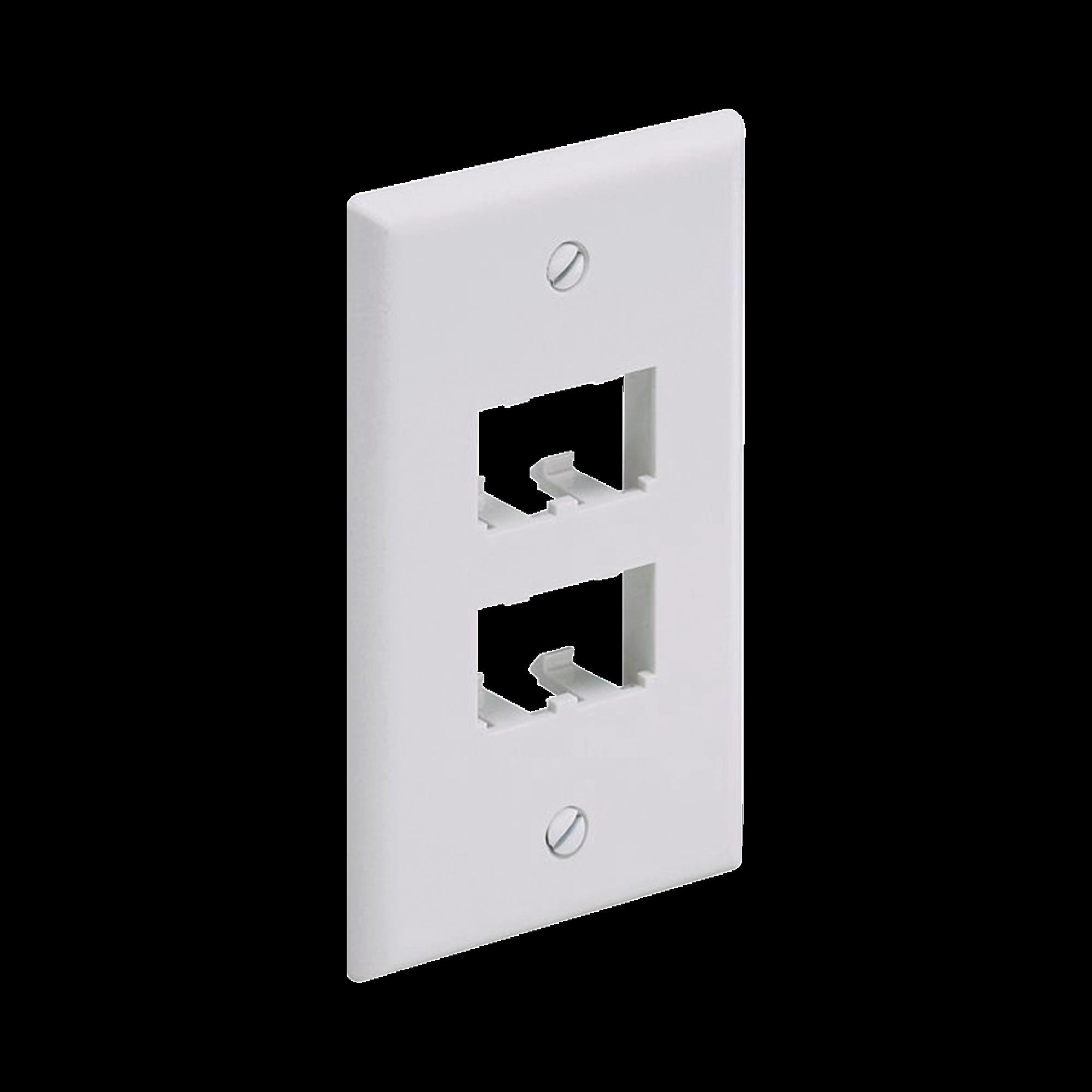 Placa de Pared Vertical Clásica, Salida Para 4 Puertos Mini-Com, Color Blanco Mate