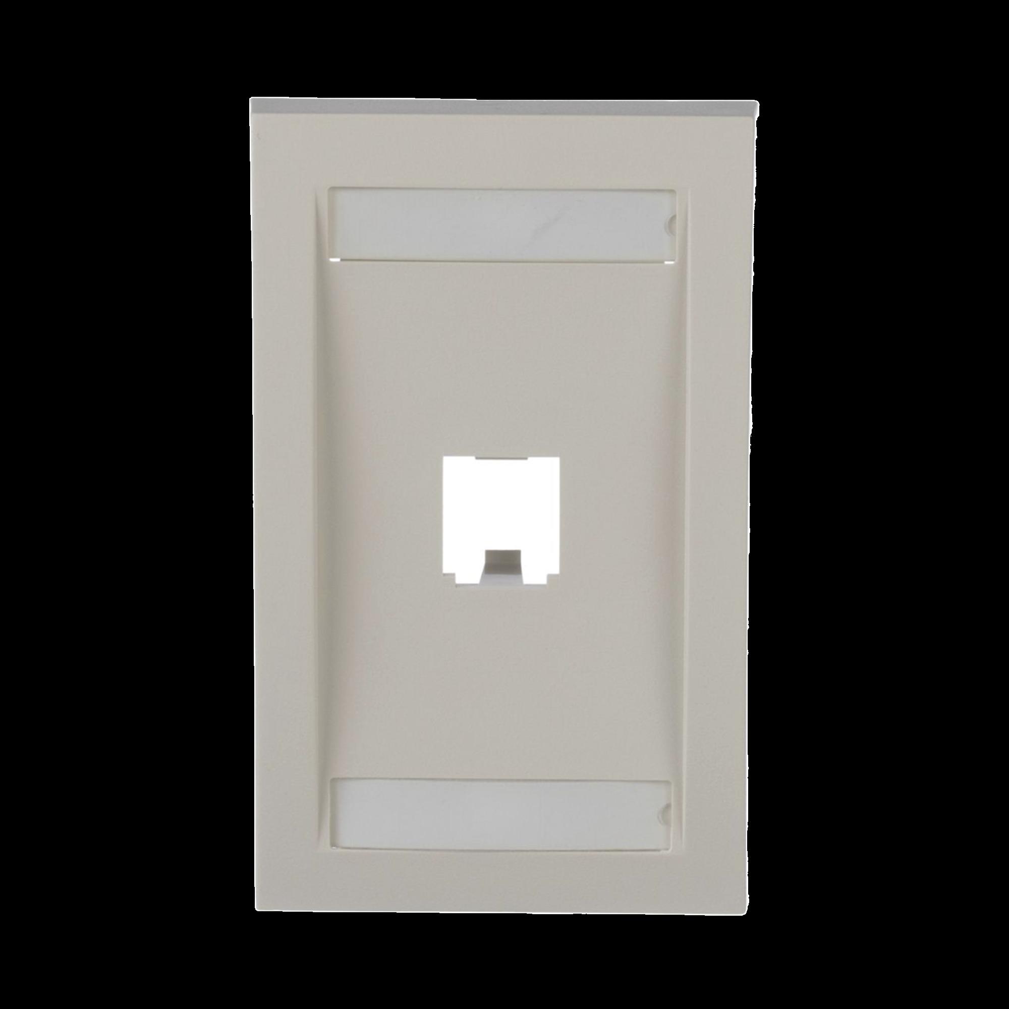 Placa de Pared Vertical Ejecutiva, Salida Para 1 Puerto Mini-Com, Con Espacios Para Etiquetas, Color Blanco Mate