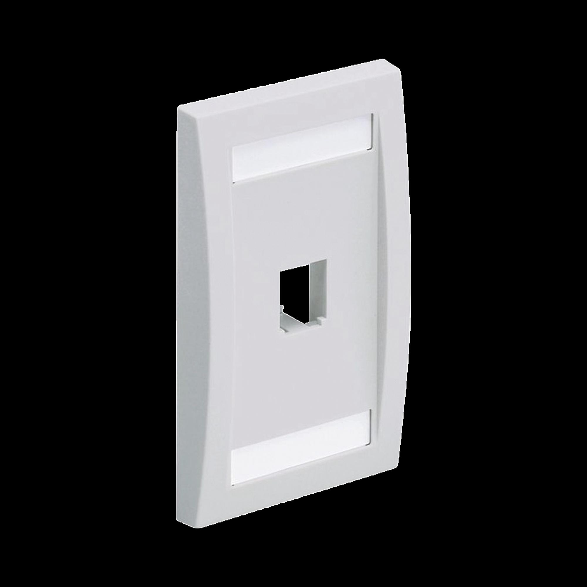 Placa de Pared Vertical Ejecutiva, Salida Para 1 Puerto Mini-Com, Con Espacios Para Etiquetas, Color Blanco