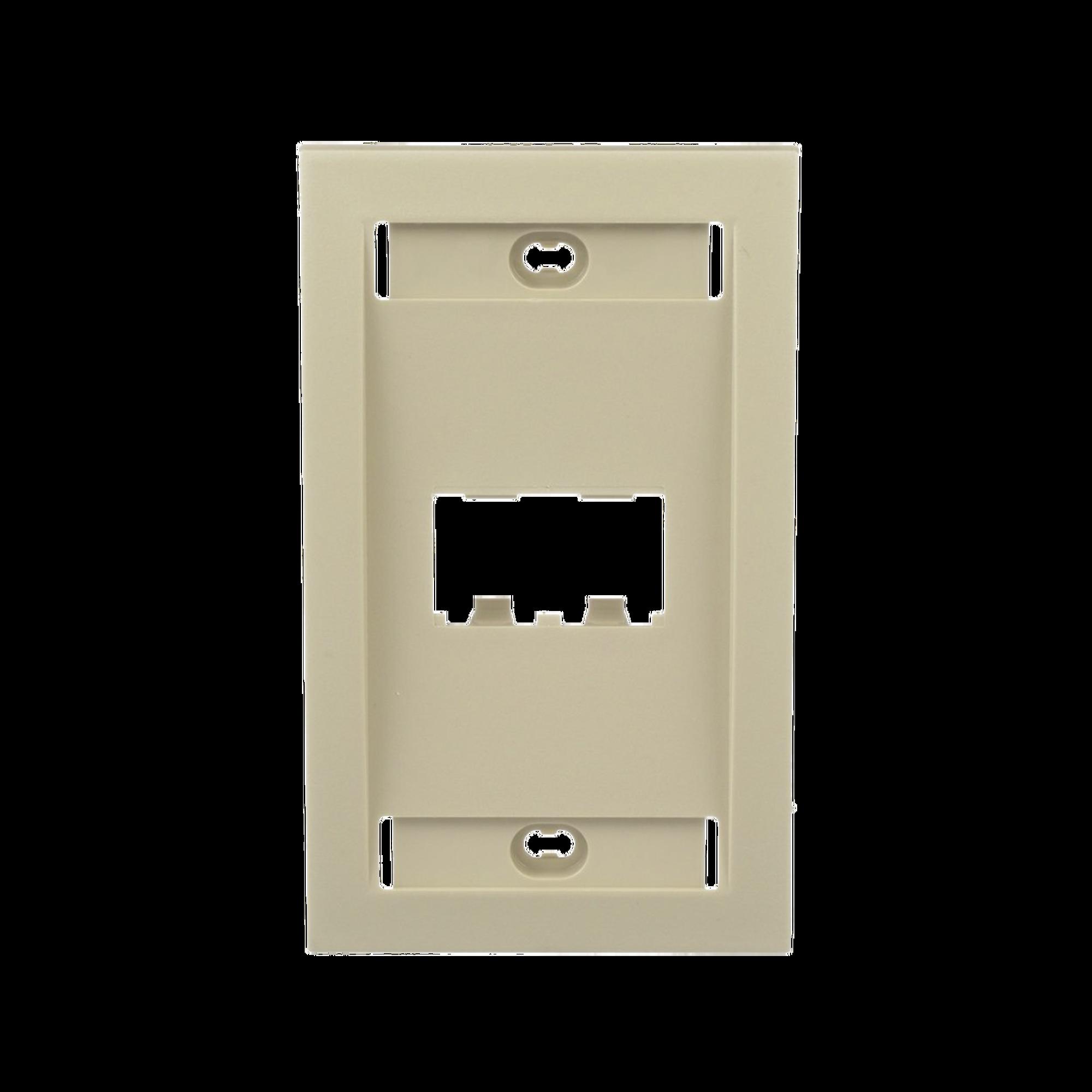 Placa de Pared Vertical Ejecutiva, Salida Para 2 Puertos Mini-Com, Con Espacios Para Etiquetas, Color Marfil