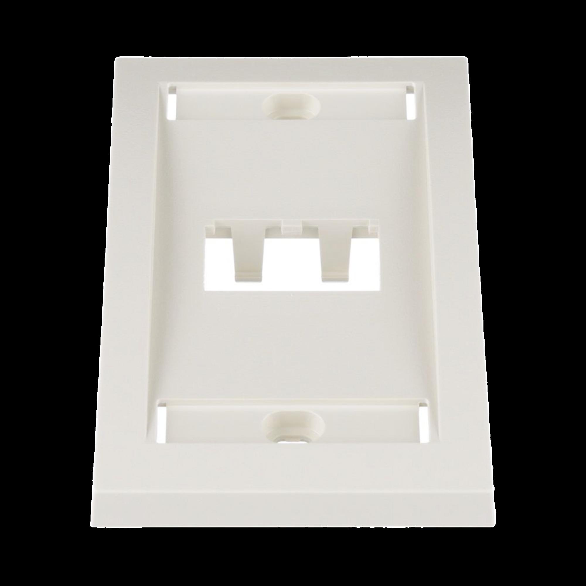 Placa de Pared Vertical Ejecutiva, Salida Para 2 Puertos Mini-Com, Con Espacios Para Etiquetas, Color Blanco Mate
