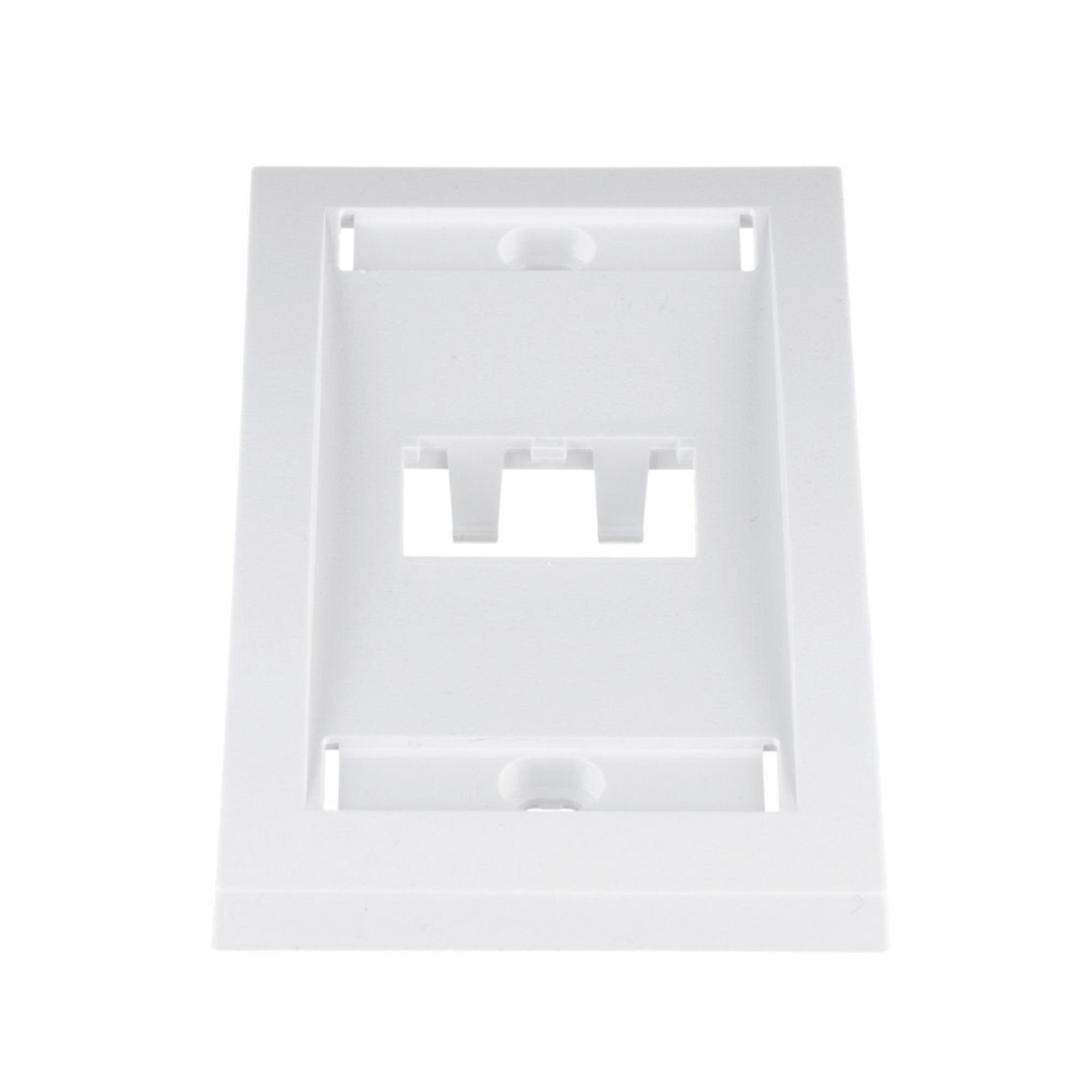 Placa de Pared Vertical Ejecutiva, Salida Para 2 Puertos Mini-Com, Con Espacios Para Etiquetas, Color Blanco
