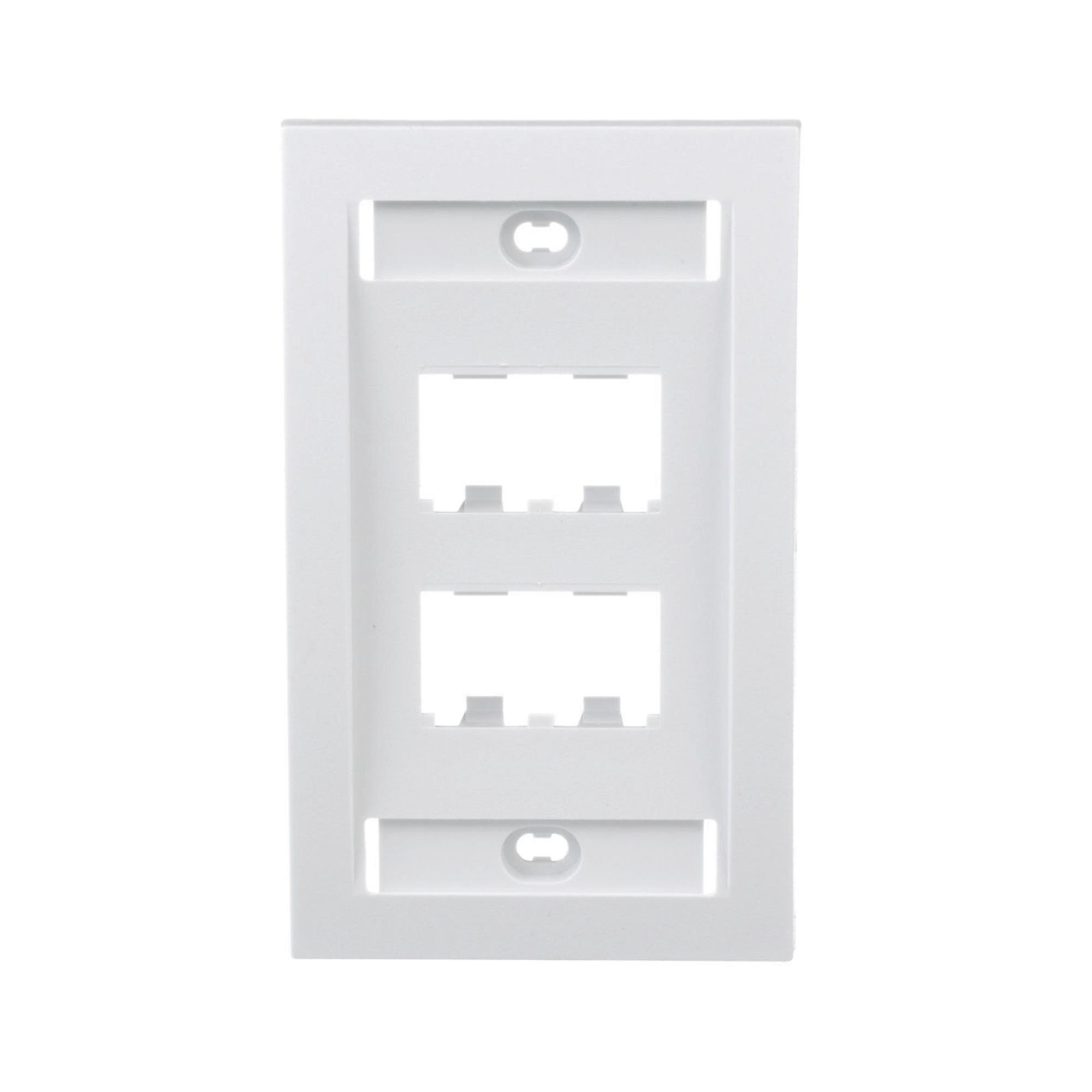 Placa de Pared Vertical Ejecutiva, Salida Para 4 Puertos Mini-Com, Con Espacios Para Etiquetas, Color Blanco