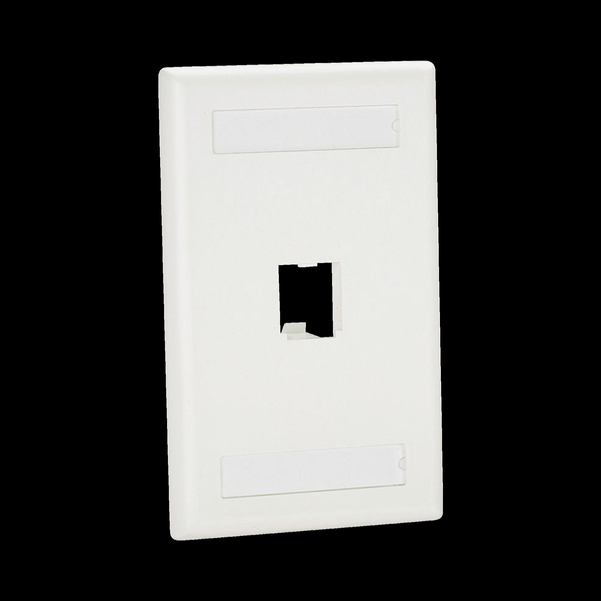 Placa de Pared Vertical Clásica, Salida Para 1 Puerto Mini-Com, Con Espacios Para Etiquetas, Color Blanco