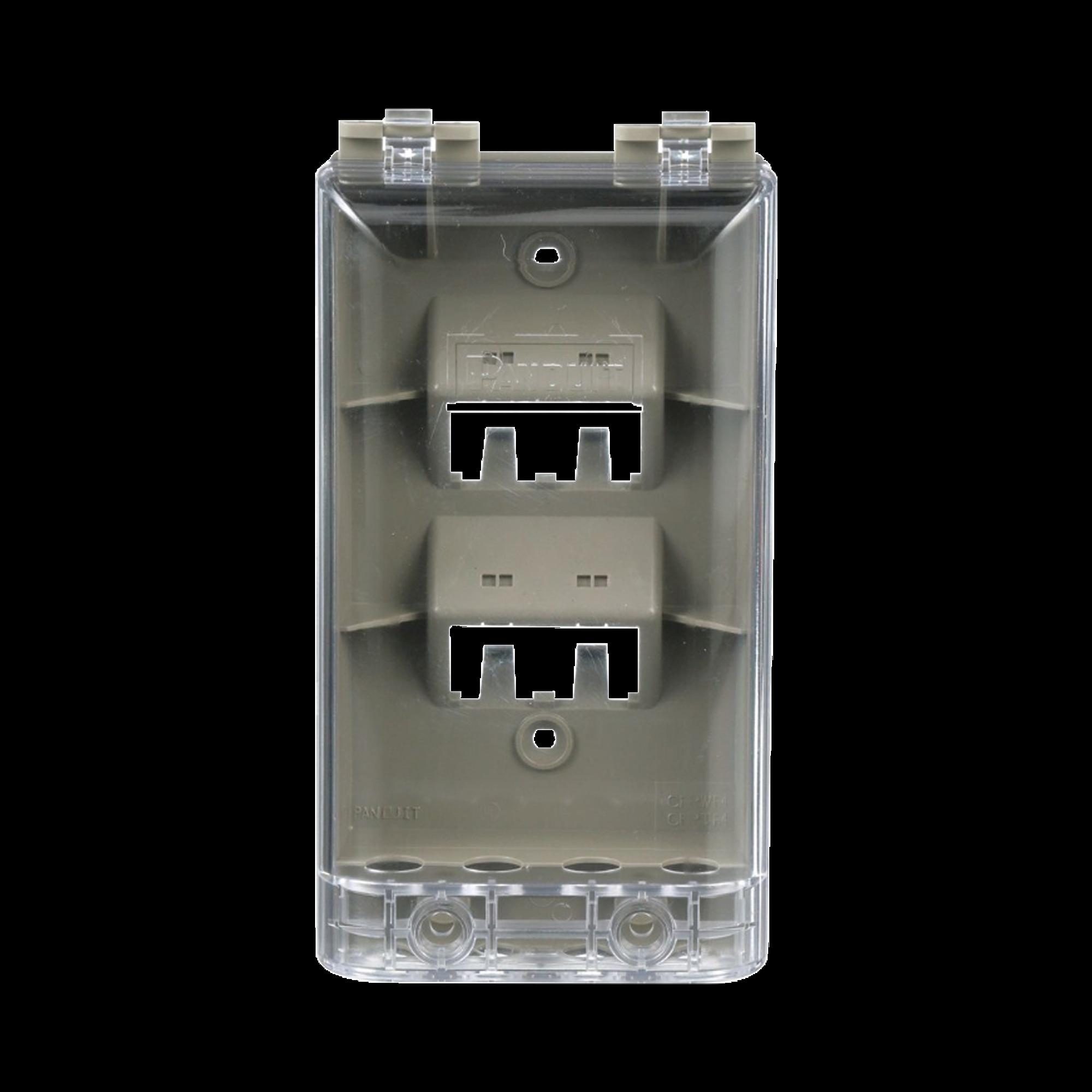 Placa de Pared Vertical, Resistente al Agua con Protección IP56, Acepta 4 Módulos Mini-Com, Color Gris