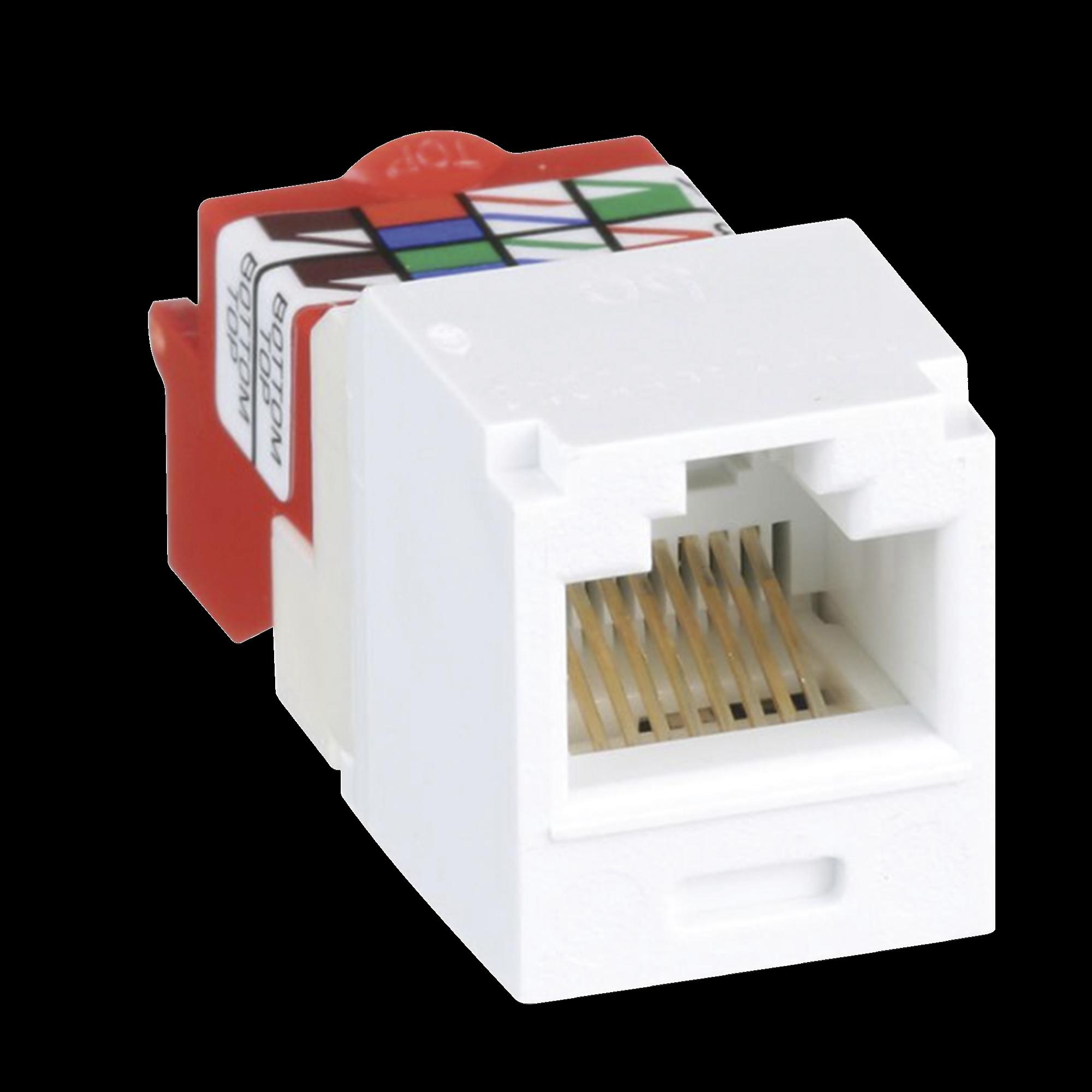 Conector Jack RJ45 Estilo T, Mini-Com, Categoría 5e, de 8 posiciones y 8 cables, Color Blanco