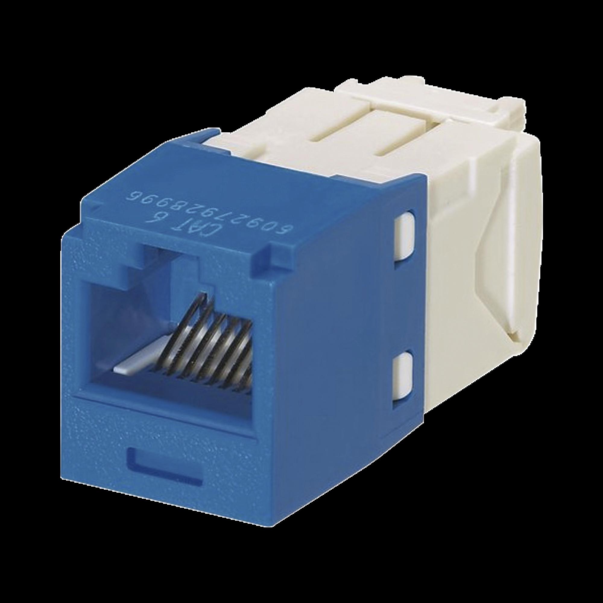 Conector Jack RJ45 Estilo TG, Mini-Com, Categoría 6, de 8 posiciones y 8 cables, Color Azul