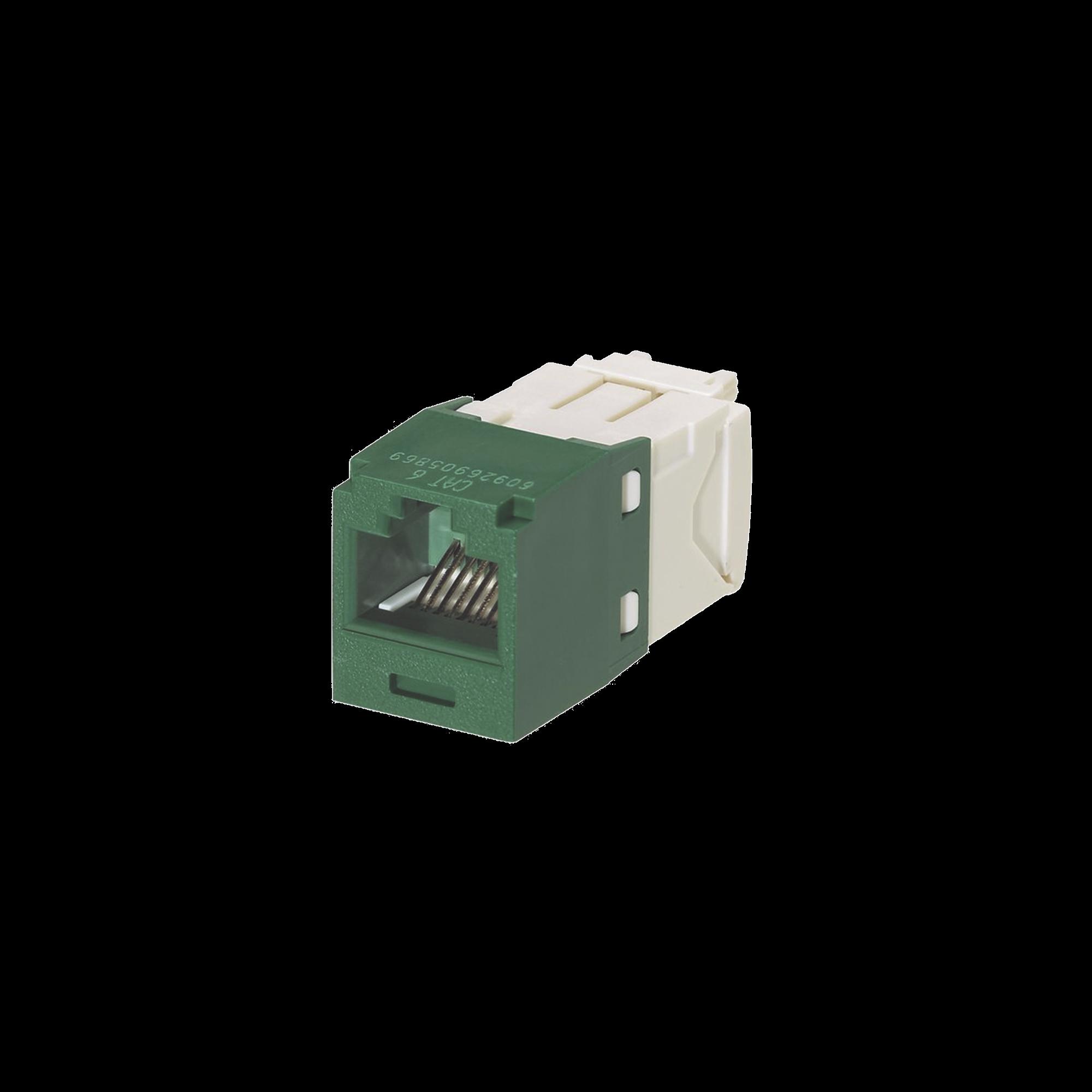 Conector Jack RJ45 Estilo TG, Mini-Com, Categoria 6, de 8 posiciones y 8 cables, Color Verde