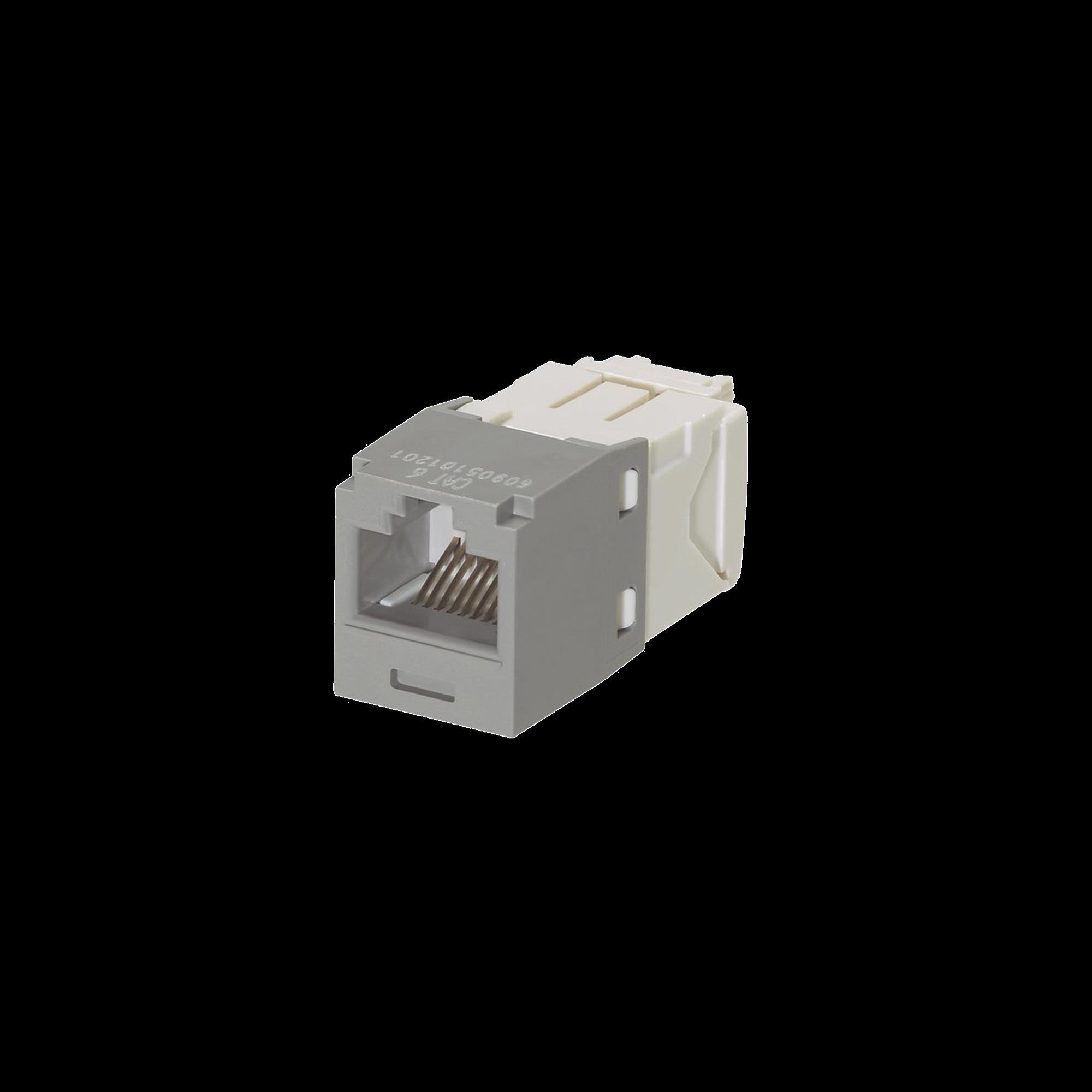 Conector Jack RJ45 Estilo TG, Mini-Com, Categoría 6, de 8 posiciones y 8 cables, Color Gris