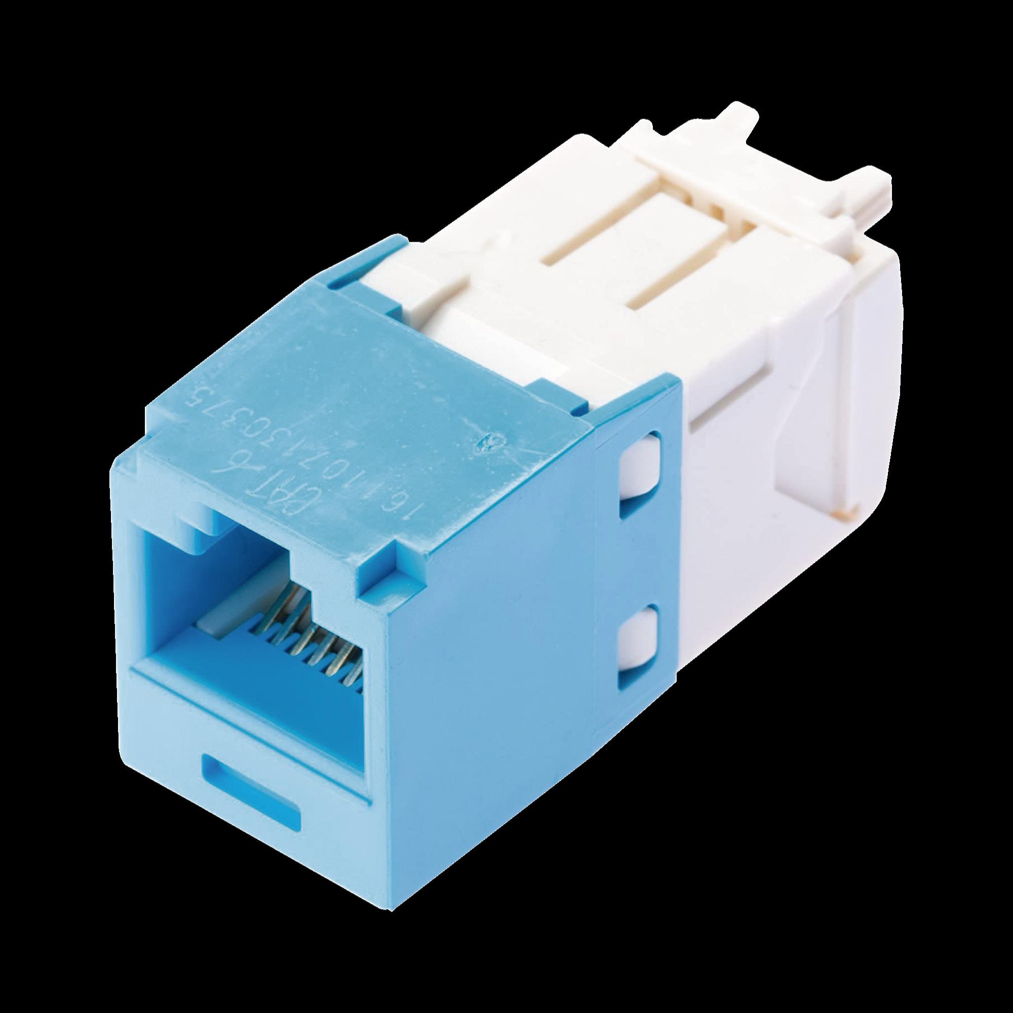 Conector Jack RJ45 Estilo TG, Mini-Com, Categoría 6, de 8 posiciones y 8 cables, Color Azul Claro