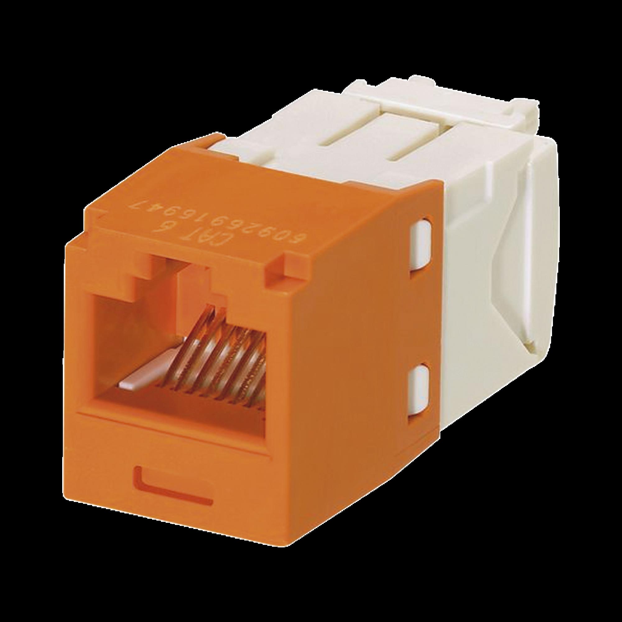 Conector Jack RJ45 Estilo TG, Mini-Com, Categoría 6, de 8 posiciones y 8 cables, Color Naranja