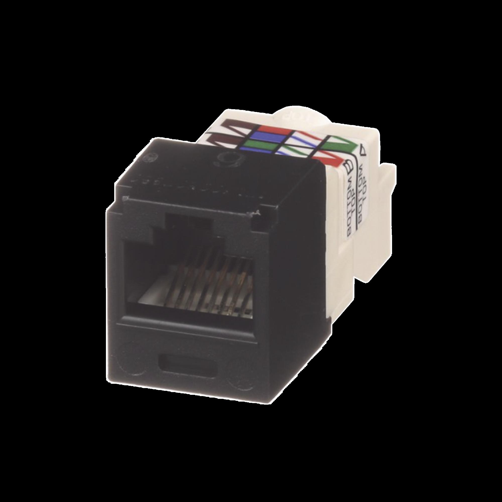 Conector Jack RJ45 Estilo TP, Mini-Com, Categoría 6, de 8 posiciones y 8 cables, Color Negro