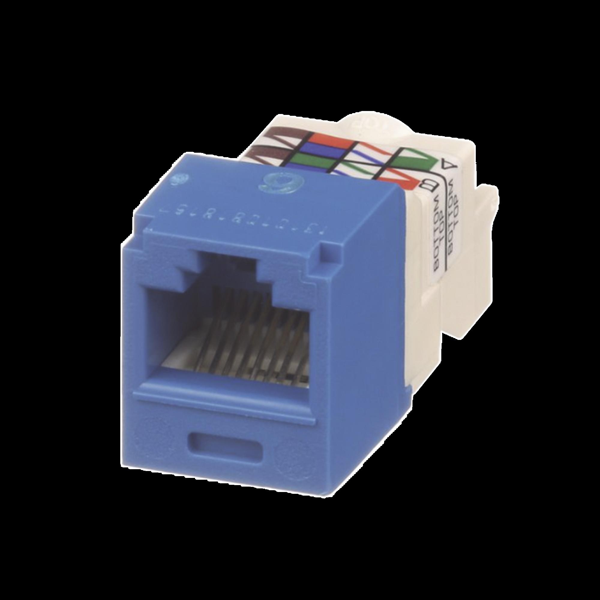 Conector Jack RJ45 Estilo TP, Mini-Com, Categoria 6, de 8 posiciones y 8 cables, Color Azul
