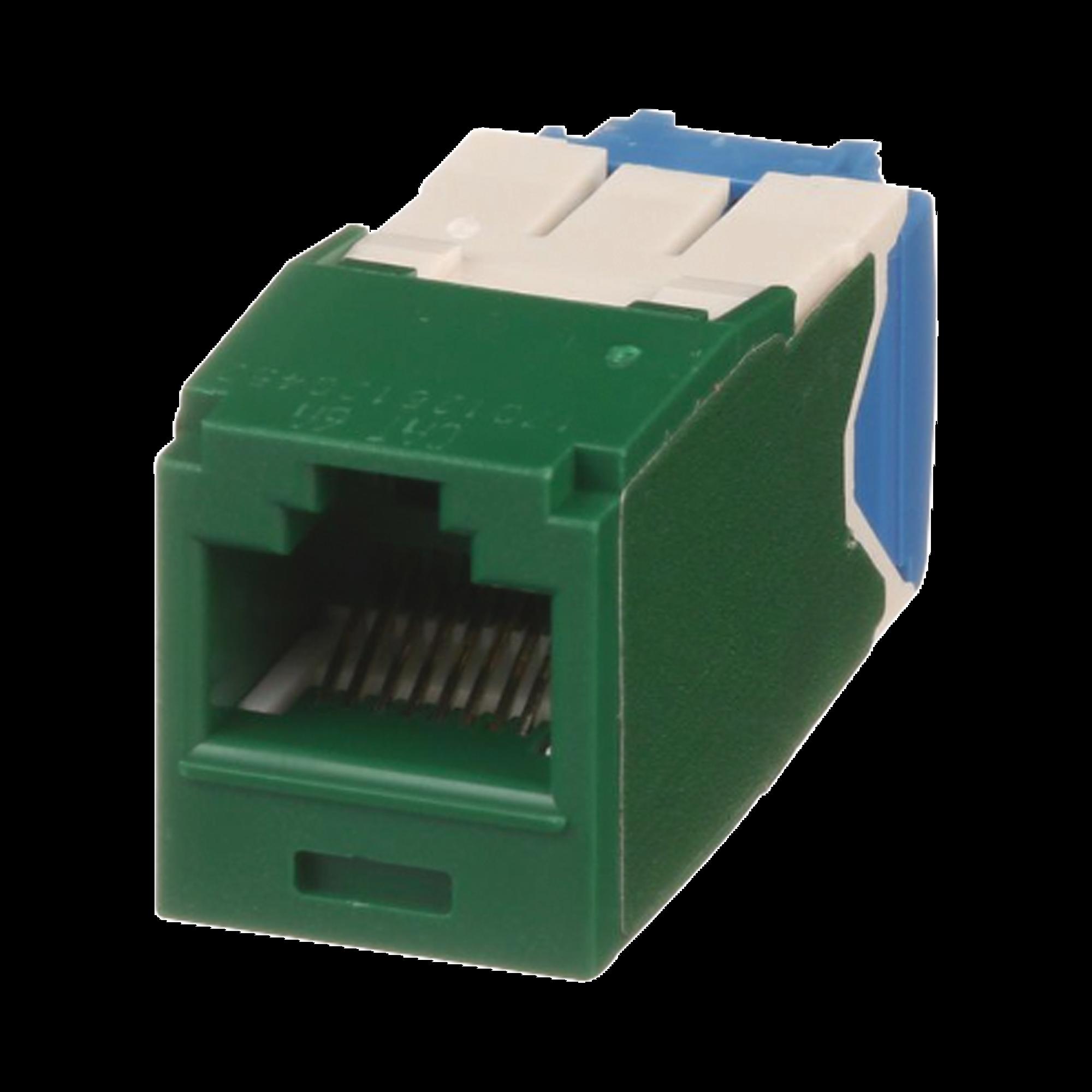 Conector Jack RJ45 Estilo TG, Mini-Com, Categoria 6A, de 8 posiciones y 8 cables, Color Verde
