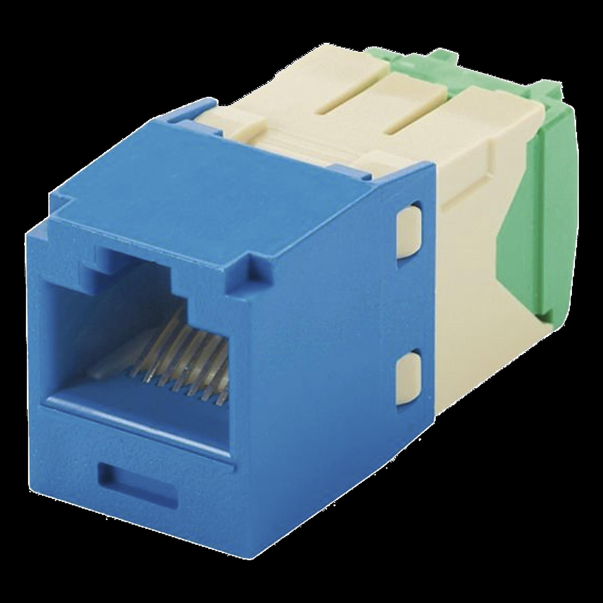 Conector Jack RJ45 Estilo TG, Mini-Com, Categoría 6, de 8 posiciones y 8 cables de Calibre 28/30 AWG, Color Azul