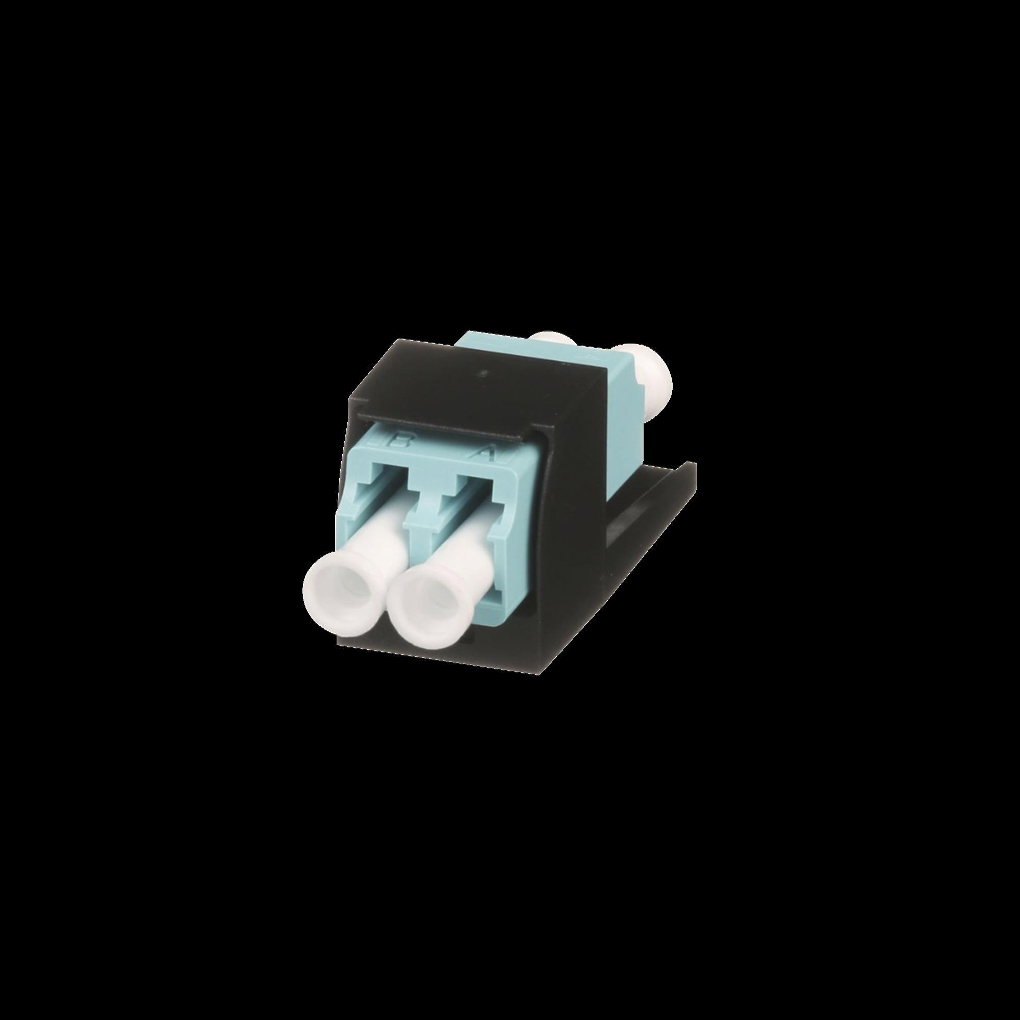 Módulo Acoplador LC Duplex, para Fibra óptica Multimodo OM3/OM4, Tipo Mini-Com, Color Aqua