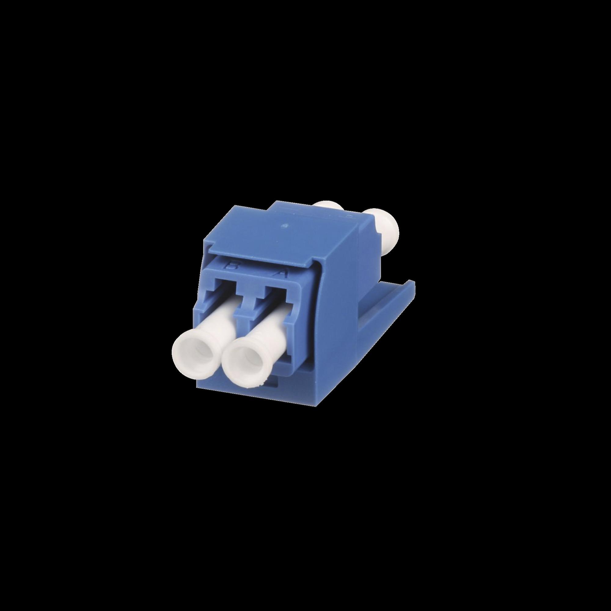 Módulo Acoplador LC Duplex, para Fibra óptica Monomodo OS1/OS2, Tipo Mini-Com, Color Azul