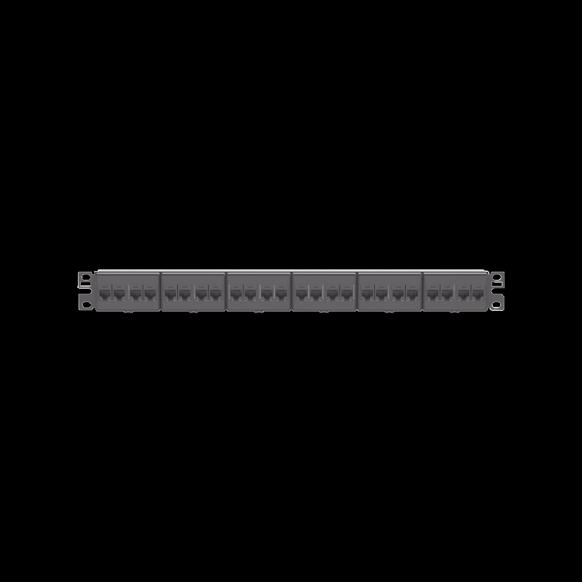 Panel de Parcheo con 24 Acopladores Mini-Com, Plano, Categoria 5e, de 1 UR, Color Negro