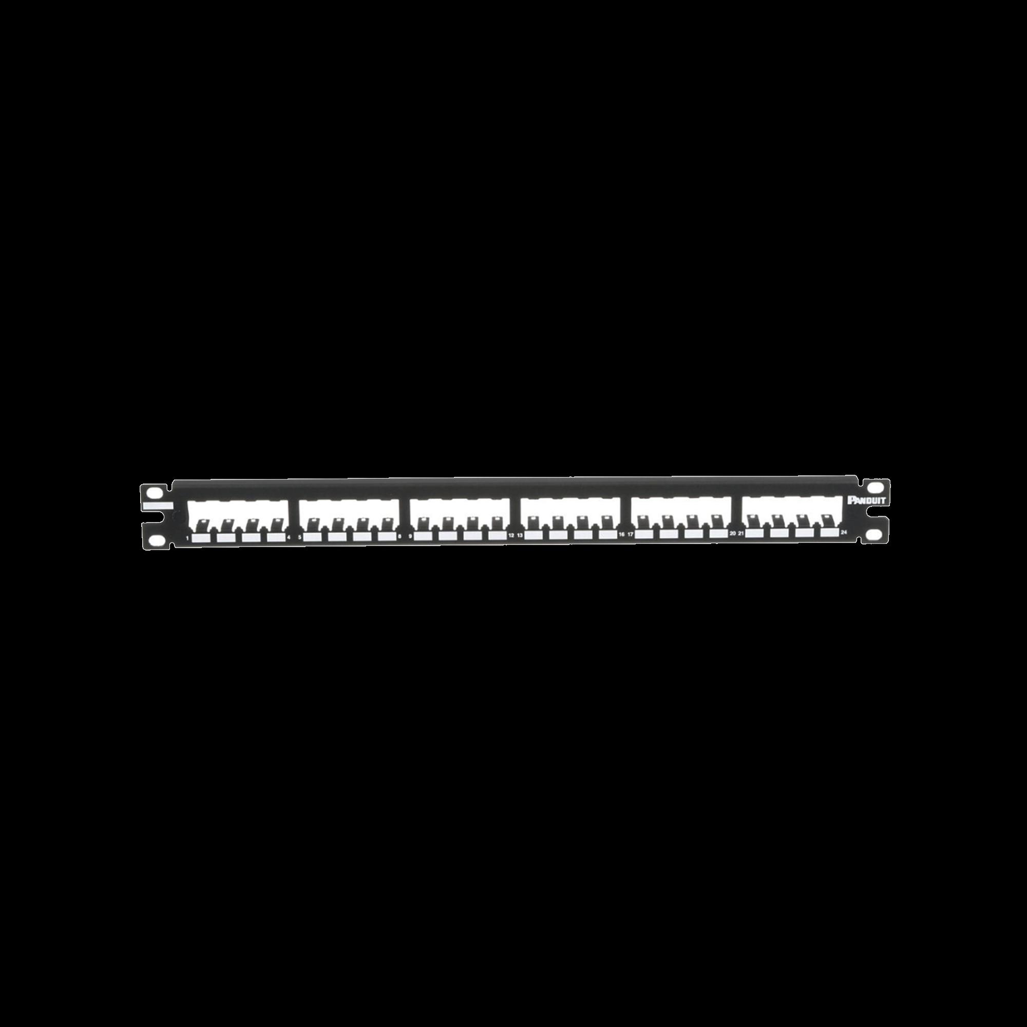 Panel de Parcheo Modular Mini-Com (Sin Conectores), Plano, Totalmente Blindado, de 24 puertos, 1UR