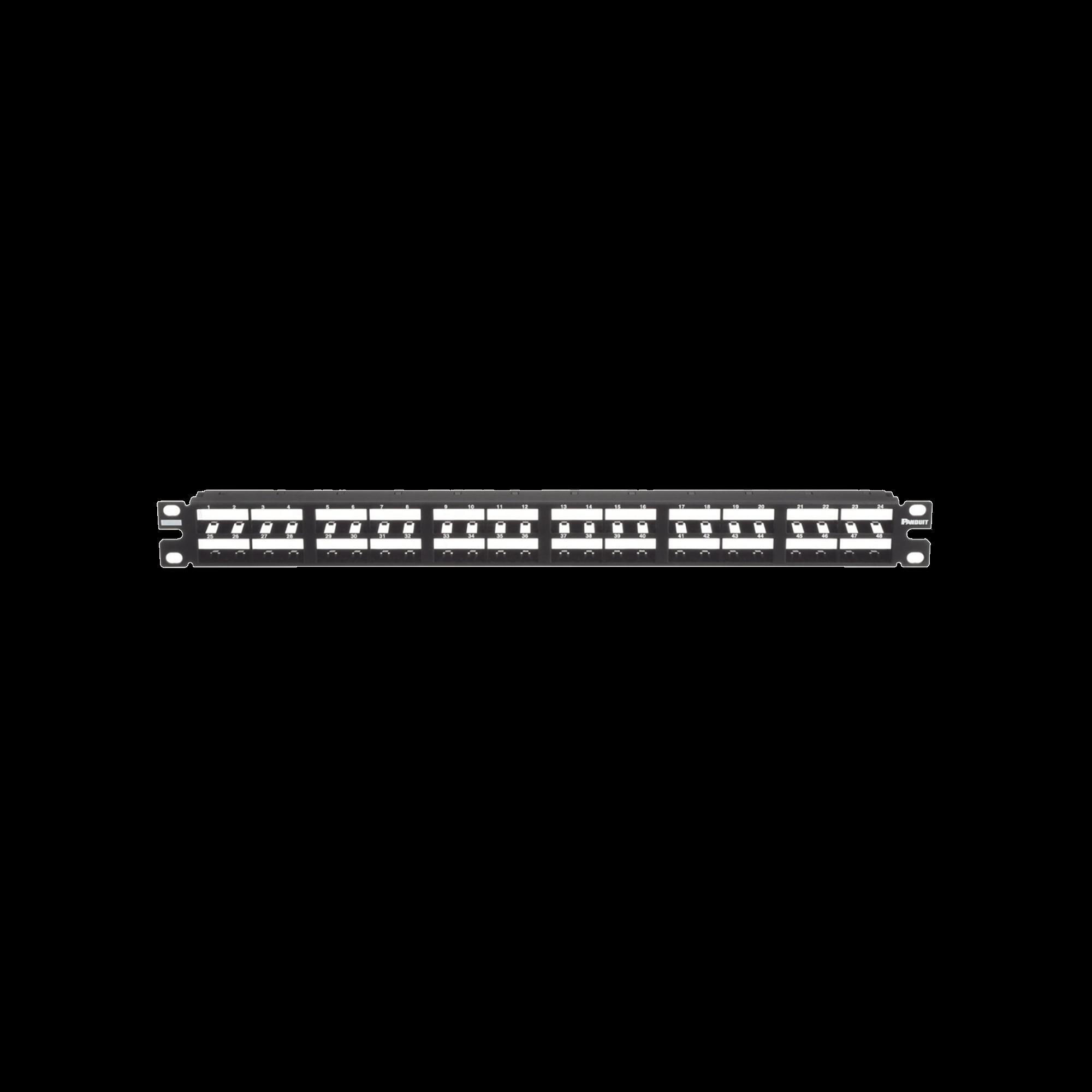 Panel de Parcheo Modular Mini-Com (Sin Conectores), Plano, Sin Blindaje, Alta Densidad, de 48 puertos, 1UR