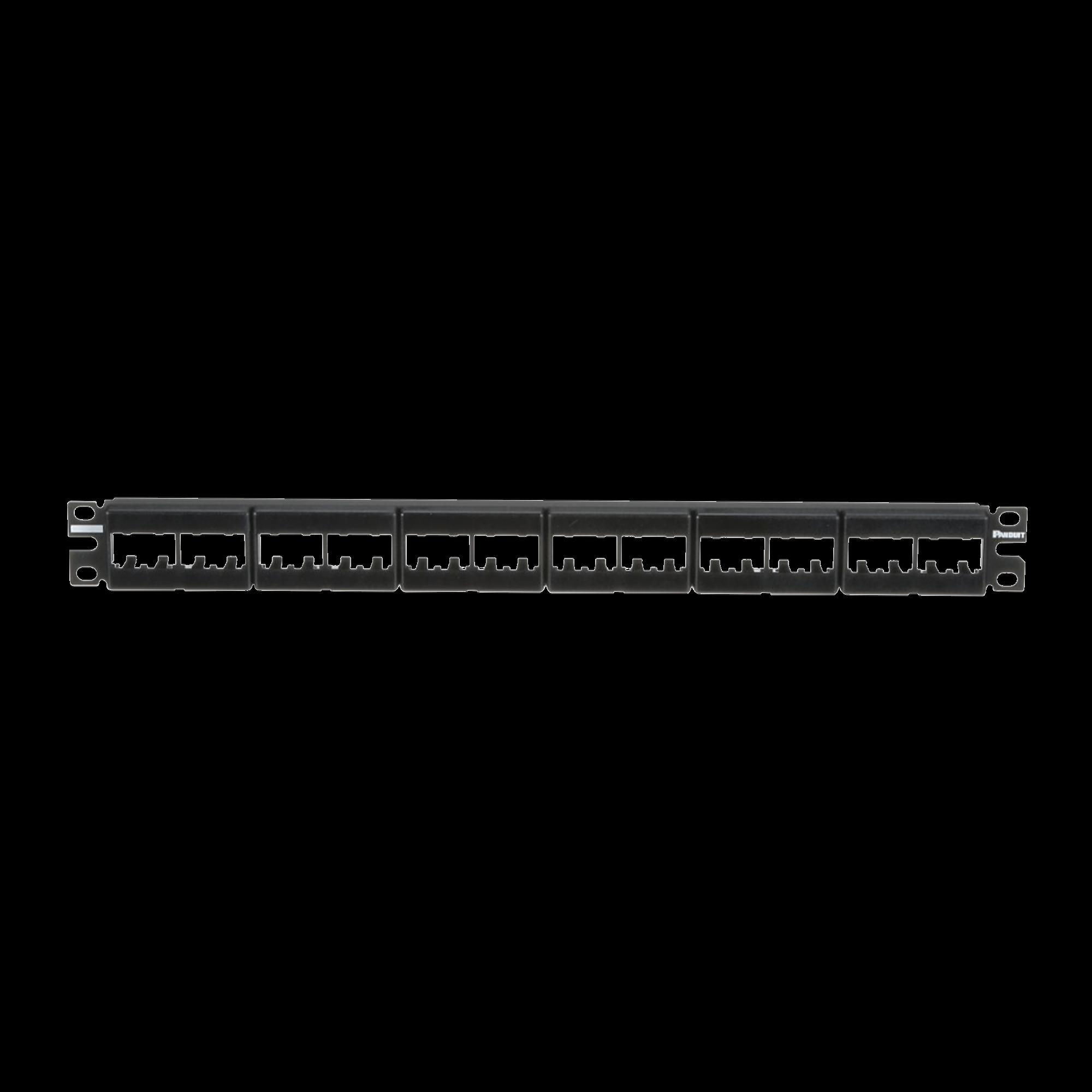 Panel de Parcheo Modular Mini-Com (Sin Conectores), Plano, Sin Blindaje, Con Etiqueta y Cubierta, de 24 puertos, 1UR
