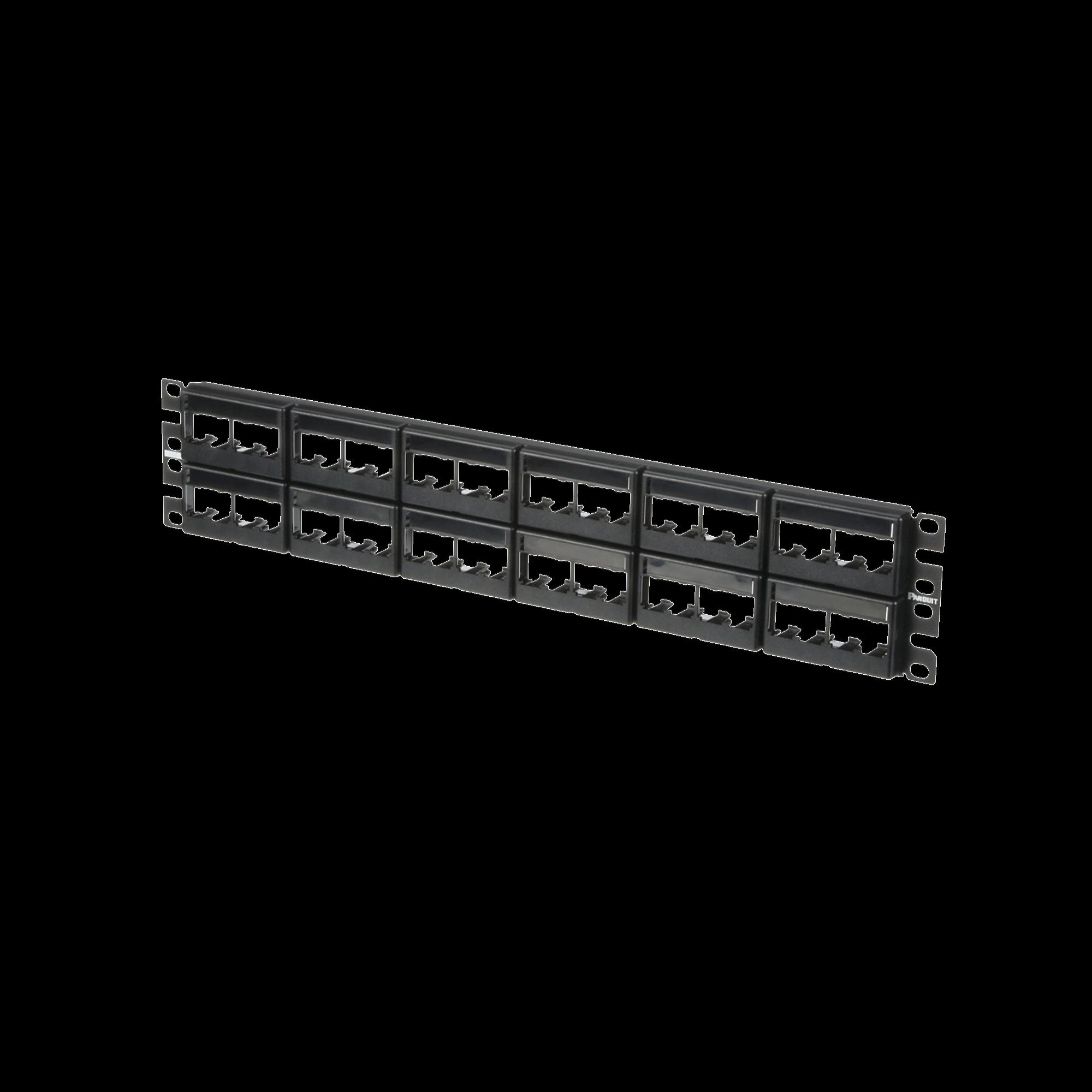 Panel de Parcheo Modular Mini-Com (Sin Conectores), Plano, Sin Blindaje, Con Etiqueta y Cubierta, de 48 puertos, 2UR