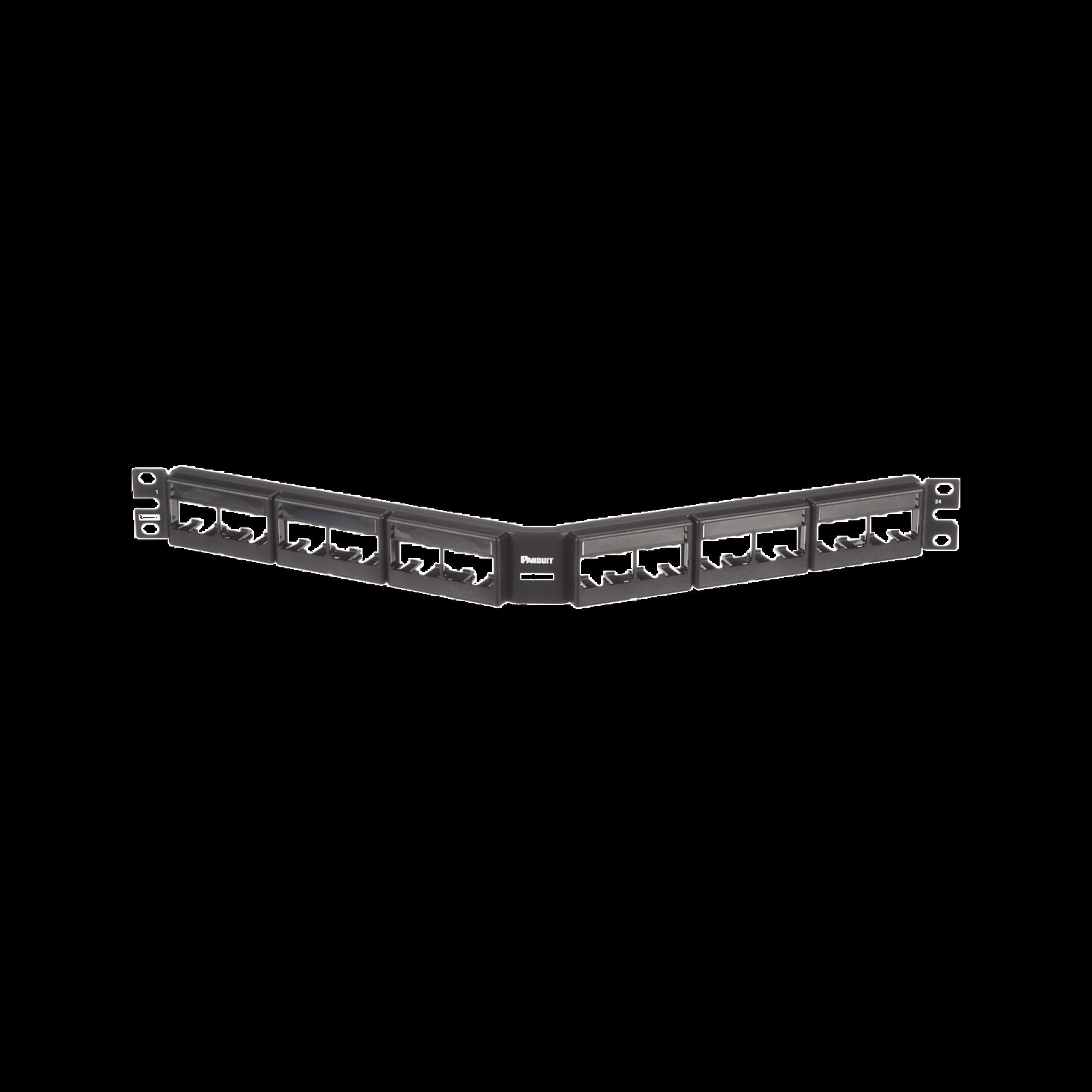 Panel de Parcheo Modular Mini-Com (Sin Conectores), Angulado, Sin Blindaje, Con Etiqueta y Cubierta, de 24 puertos, 1UR